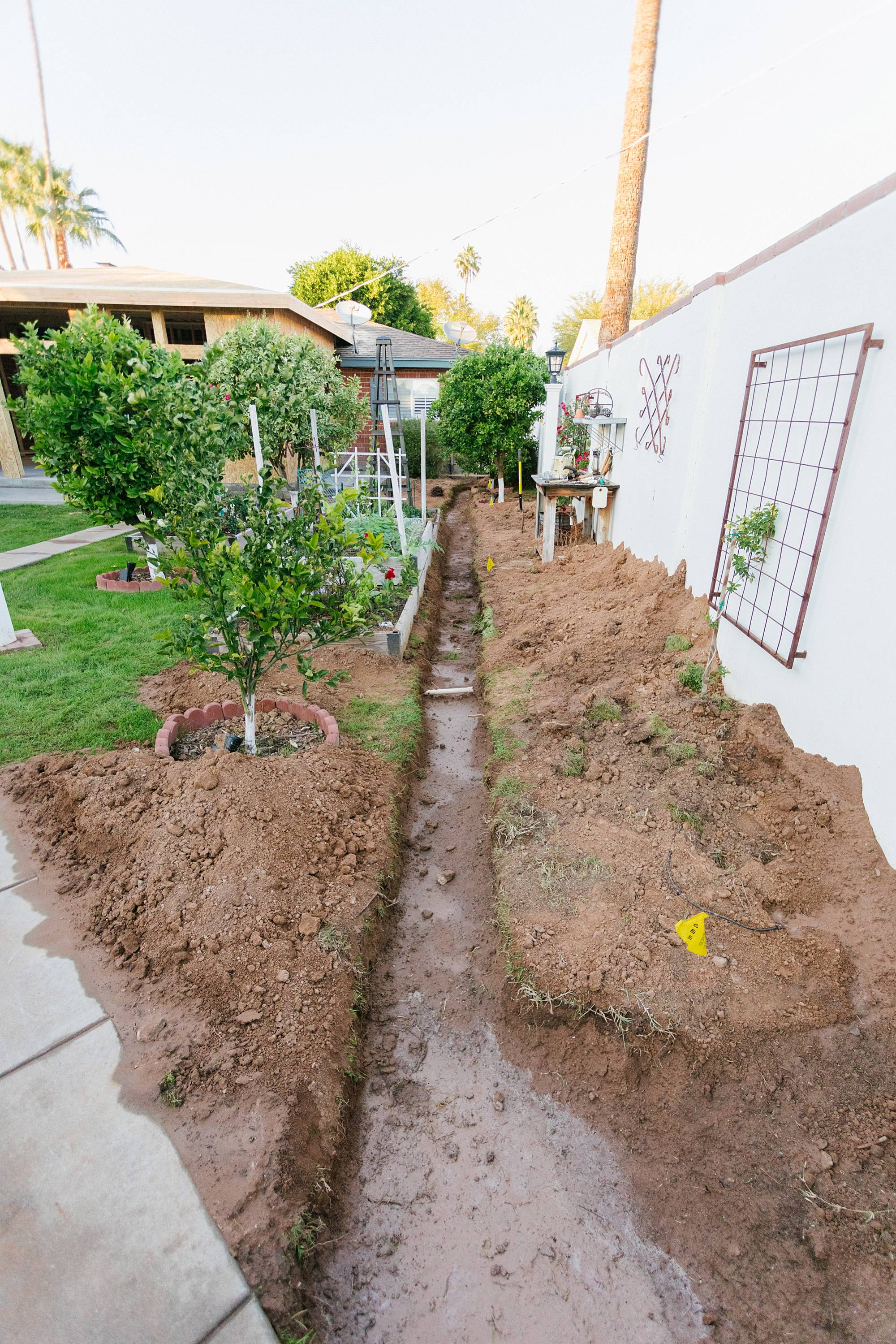 trench for SRP burying lines construction of home expansion in Phoenix Arizona