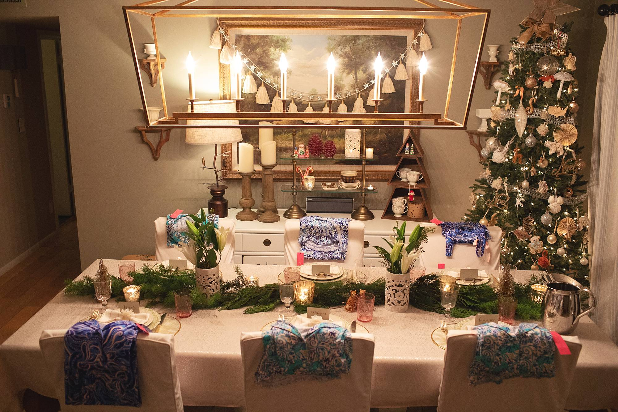 Christmas dinner party sleepover slumber party Lilly pulitzer pajamas