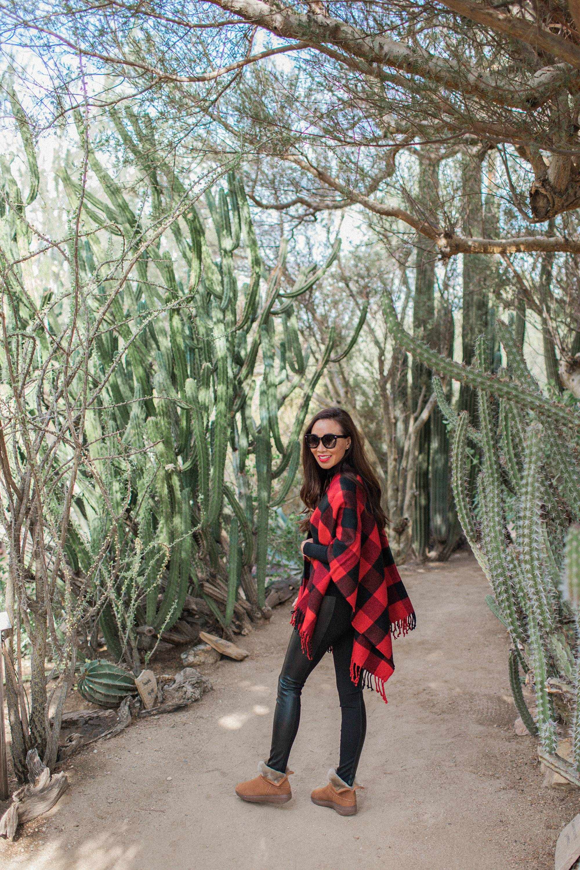 Moorten Botanical Garden Palm Springs cactus garden outdoor buffalo check poncho Abercrombie on phoenix travel and lifestyle blogger Diana Elizabeth wearing cozy shearling boots by FitFlop #cactusgarden #palmsprings