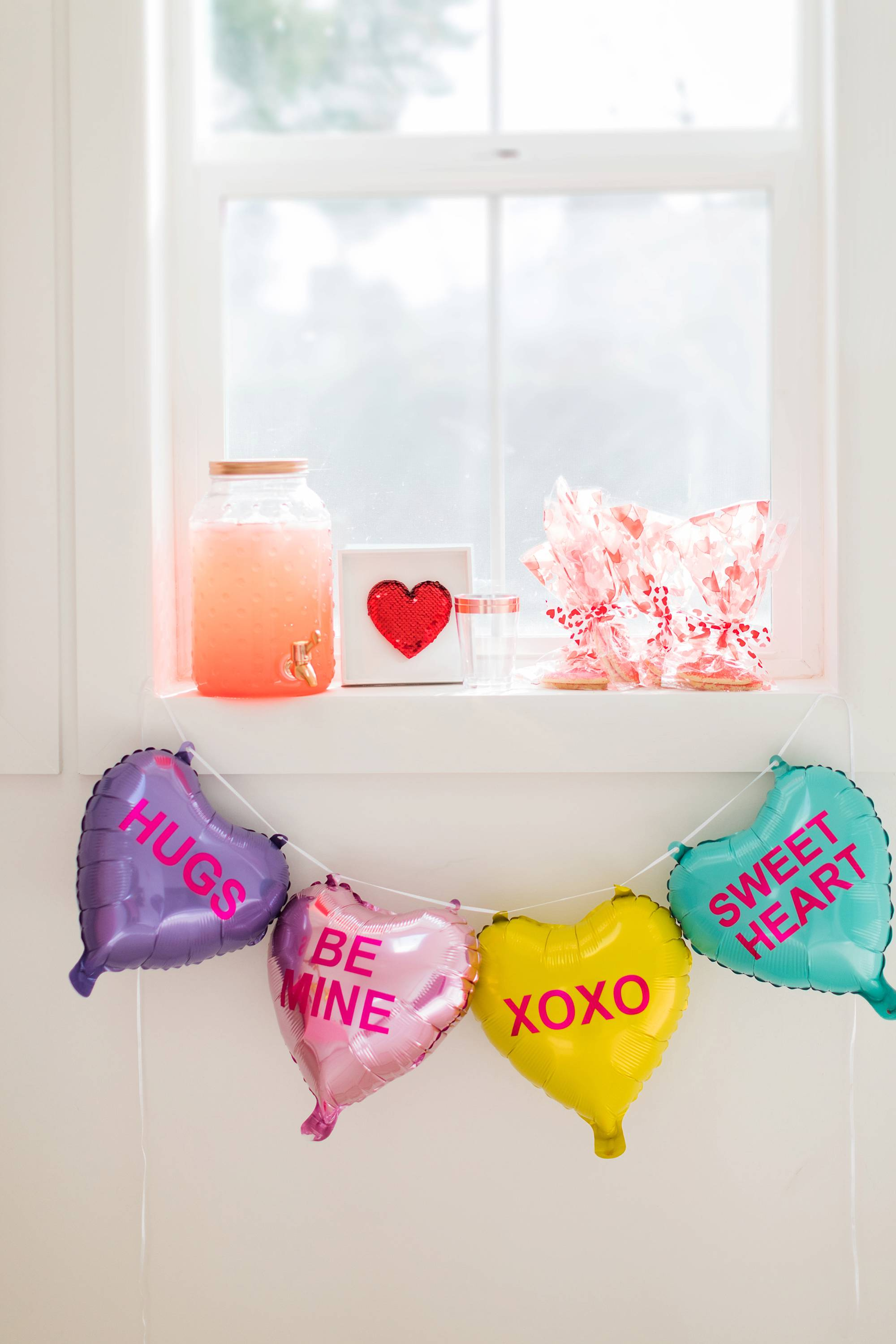 the drink station from the 99 cents store Valentine's Day galentine's day decor from the 99 cents only store - a party on a budget cute girly and fun! #valentinesday #galentinesday