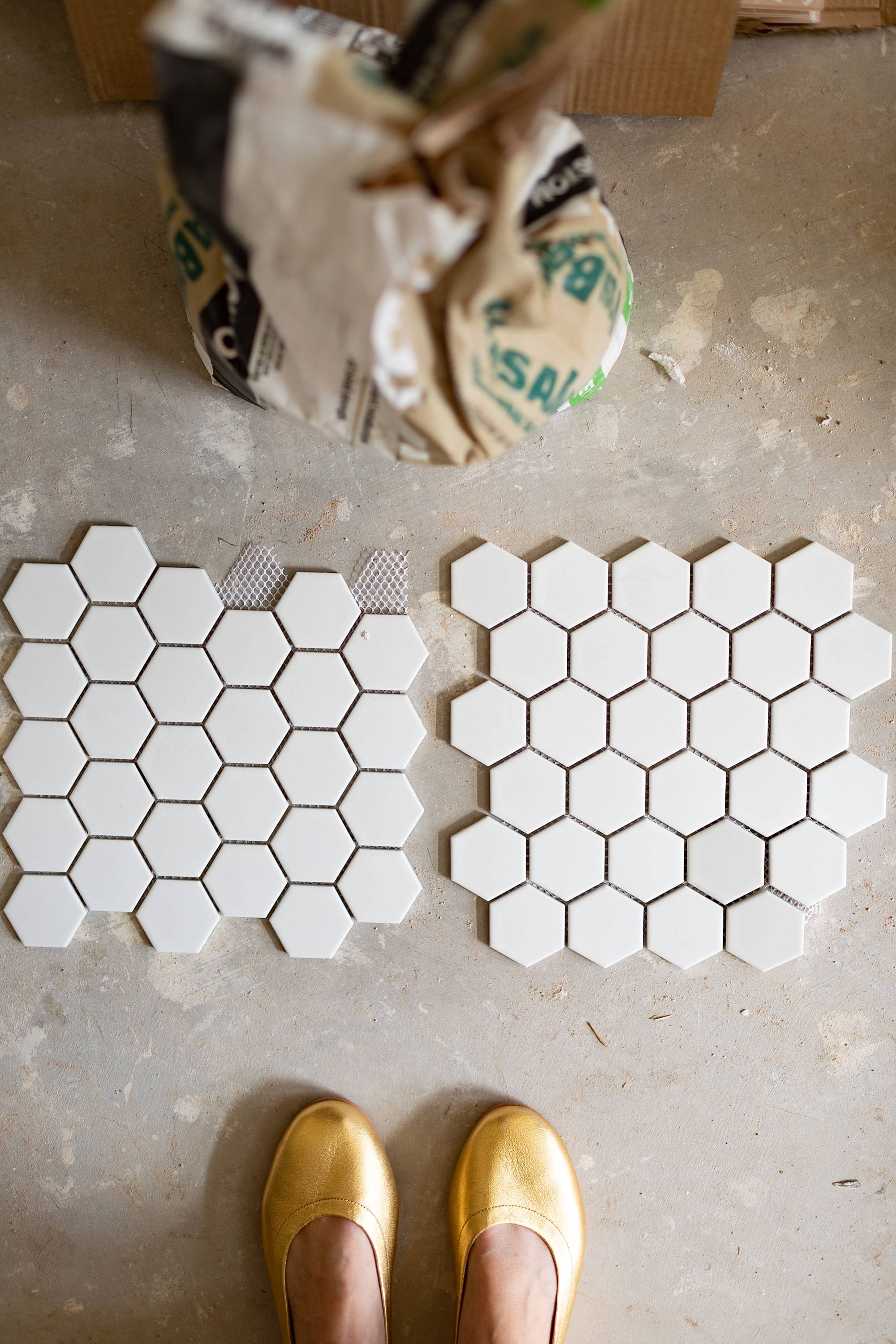 orientation of hexagon tile pointy side or flat for a modern or honeycomb look
