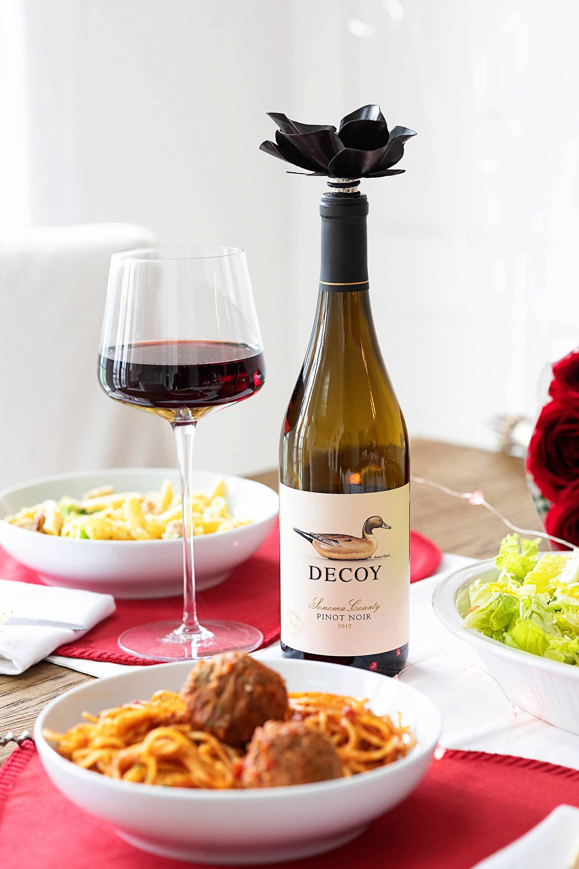 romantic valentines day dinner with decoy wine