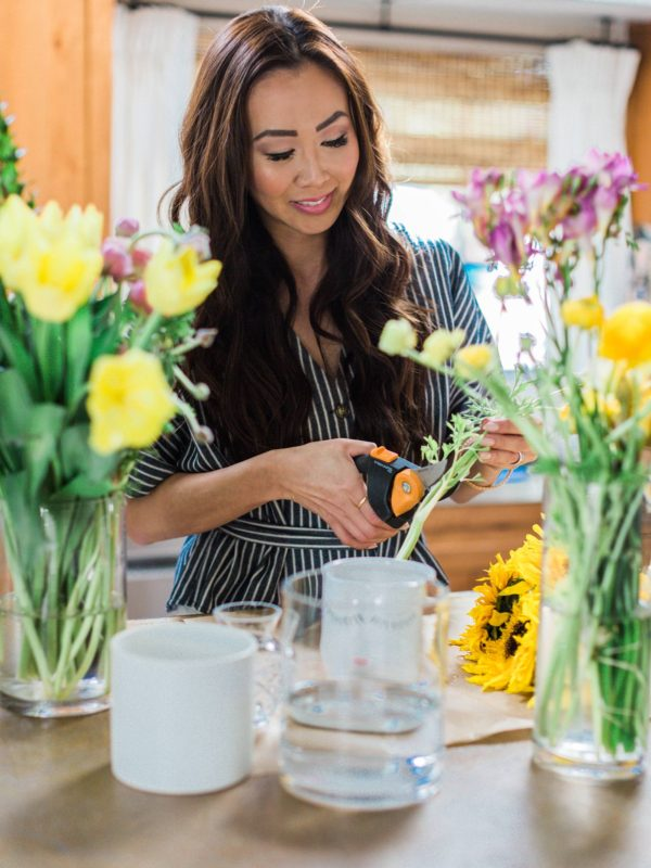 Fiskars pruners and snips making a bouquet for spring entertaining