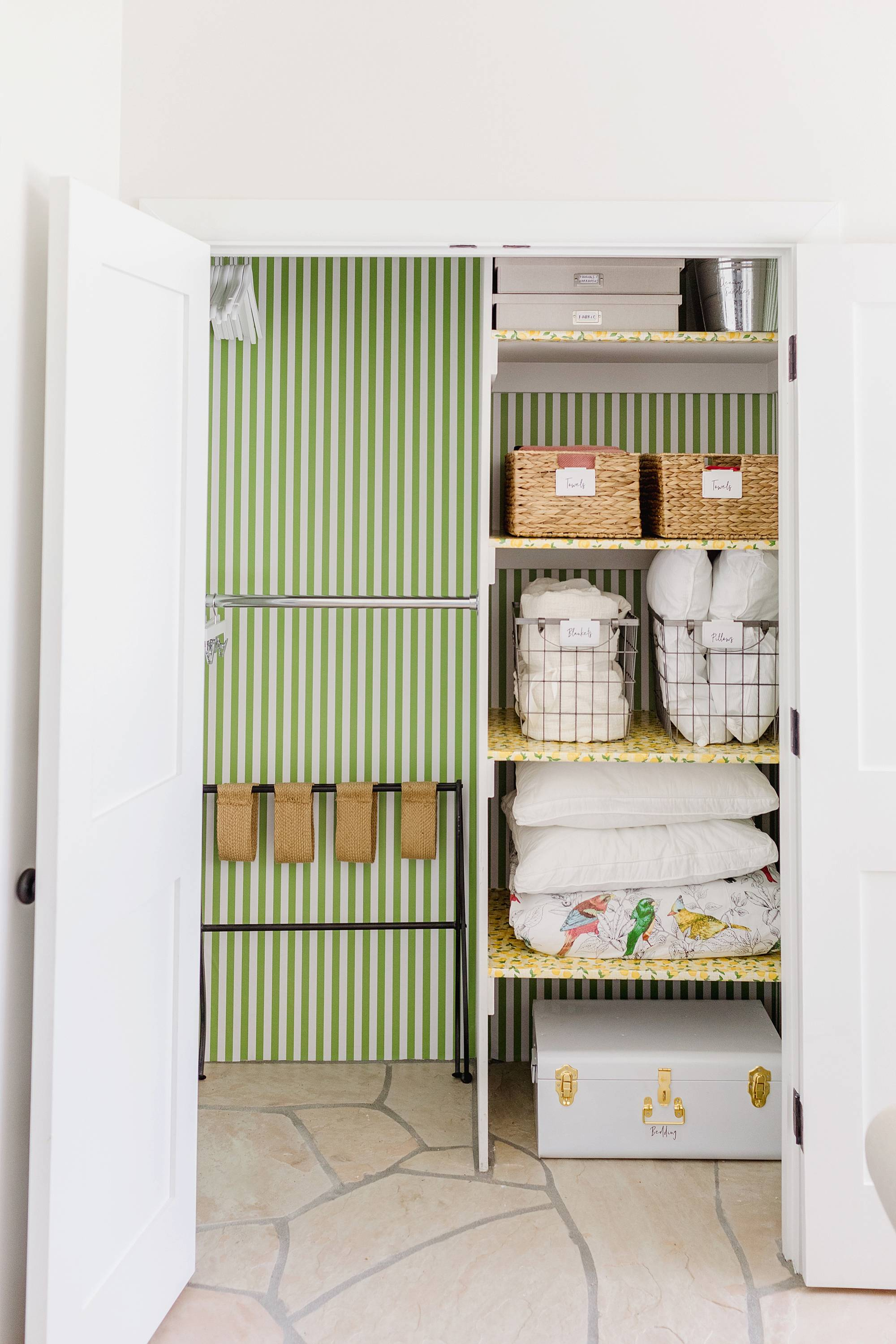 guest closet lemon print green white stripe wallpaper