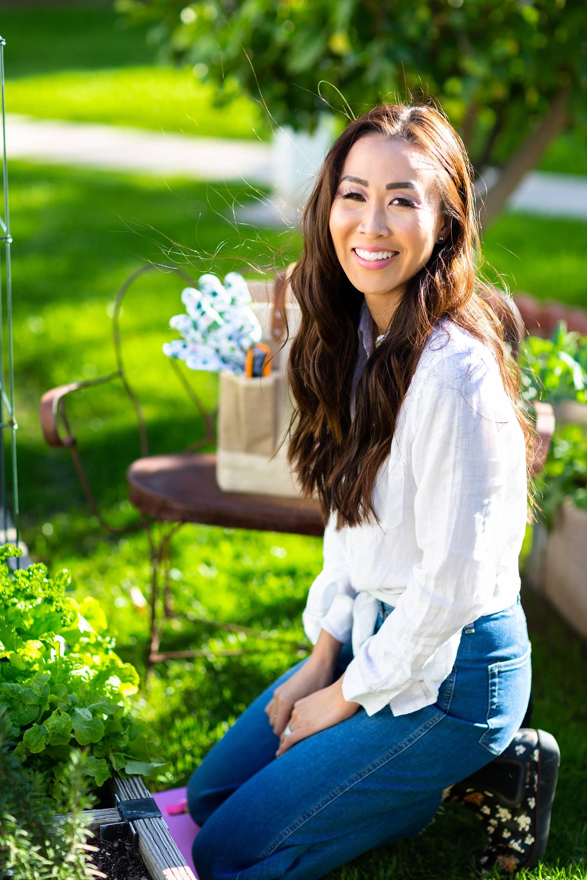 phoenix garden and lifestyle blogger Diana Elizabeth in spring garden garden beds