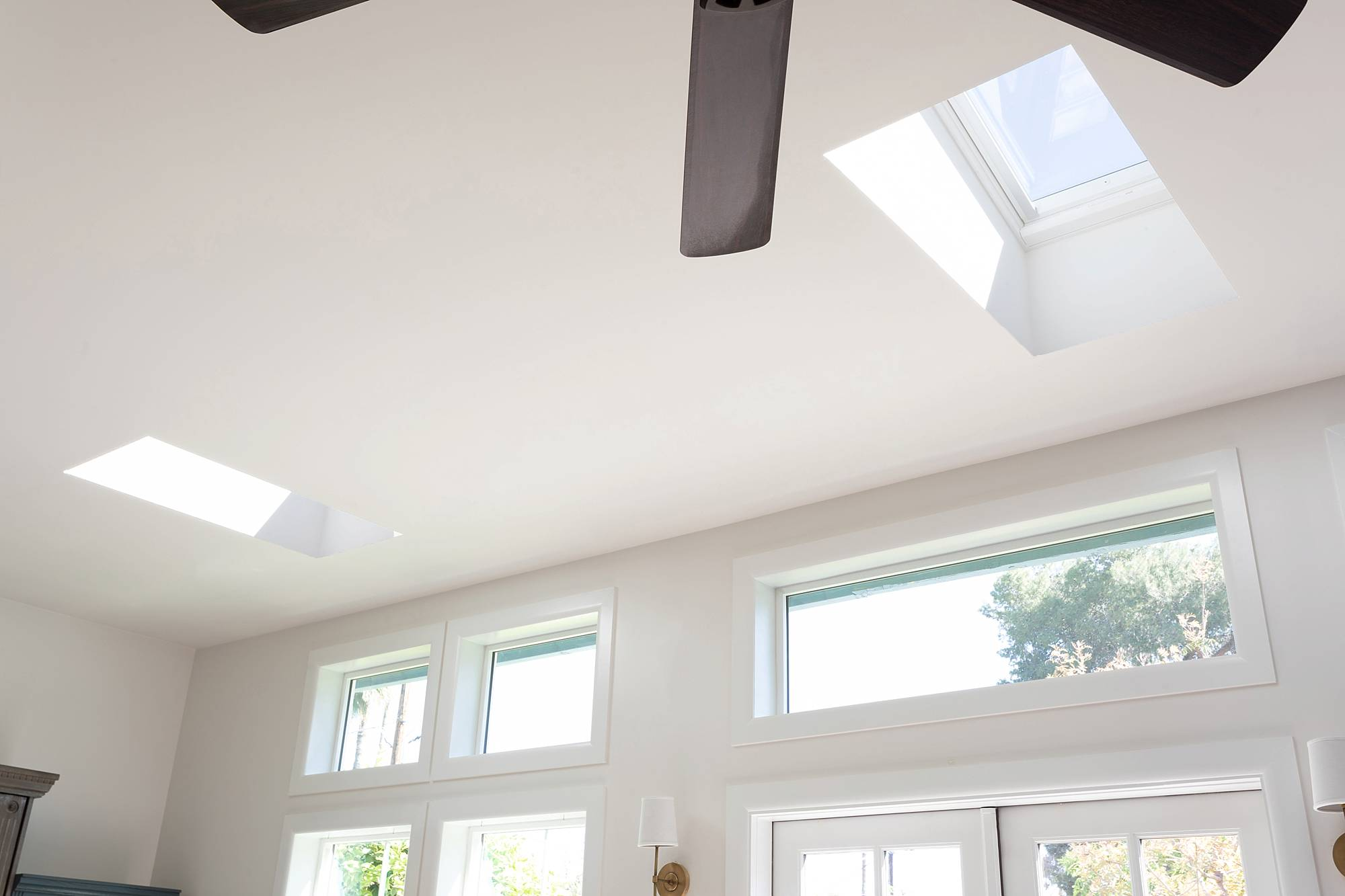 Skylights in the living room with VELUX - see before and after photos in this huge blog post