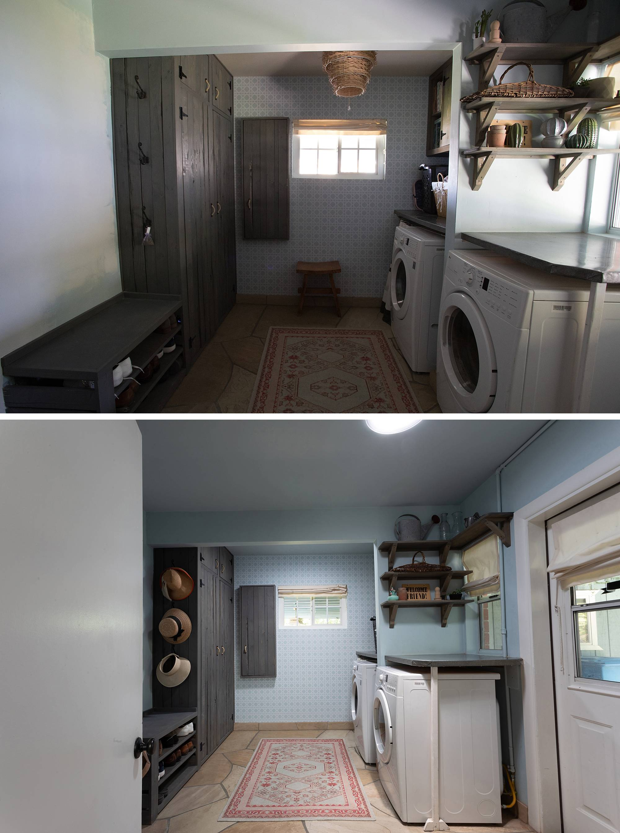 laundry room before after with sun tunnels by VELUX see all the before and after images on the blog