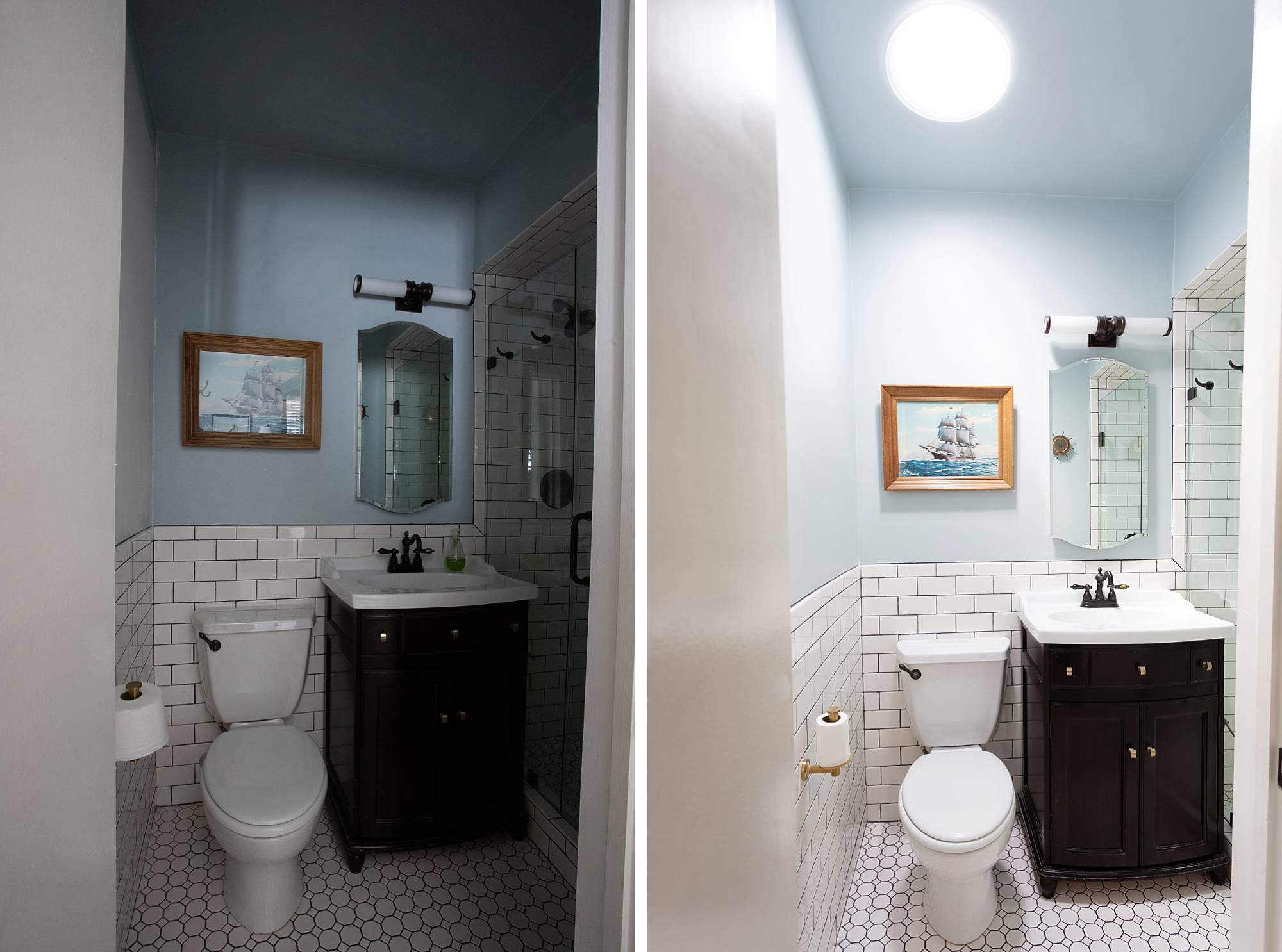 Sun tunnels with VELUX - before and after bathroom look at the light! More on the blog