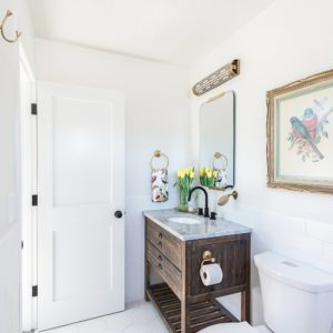 Vanity from Build.com - Signature Hardware Benoist, bathroom reveal makeover lifestyle blogger Diana Elizabeth in Phoenix, Arizona, white subway tile, clean modern rstic