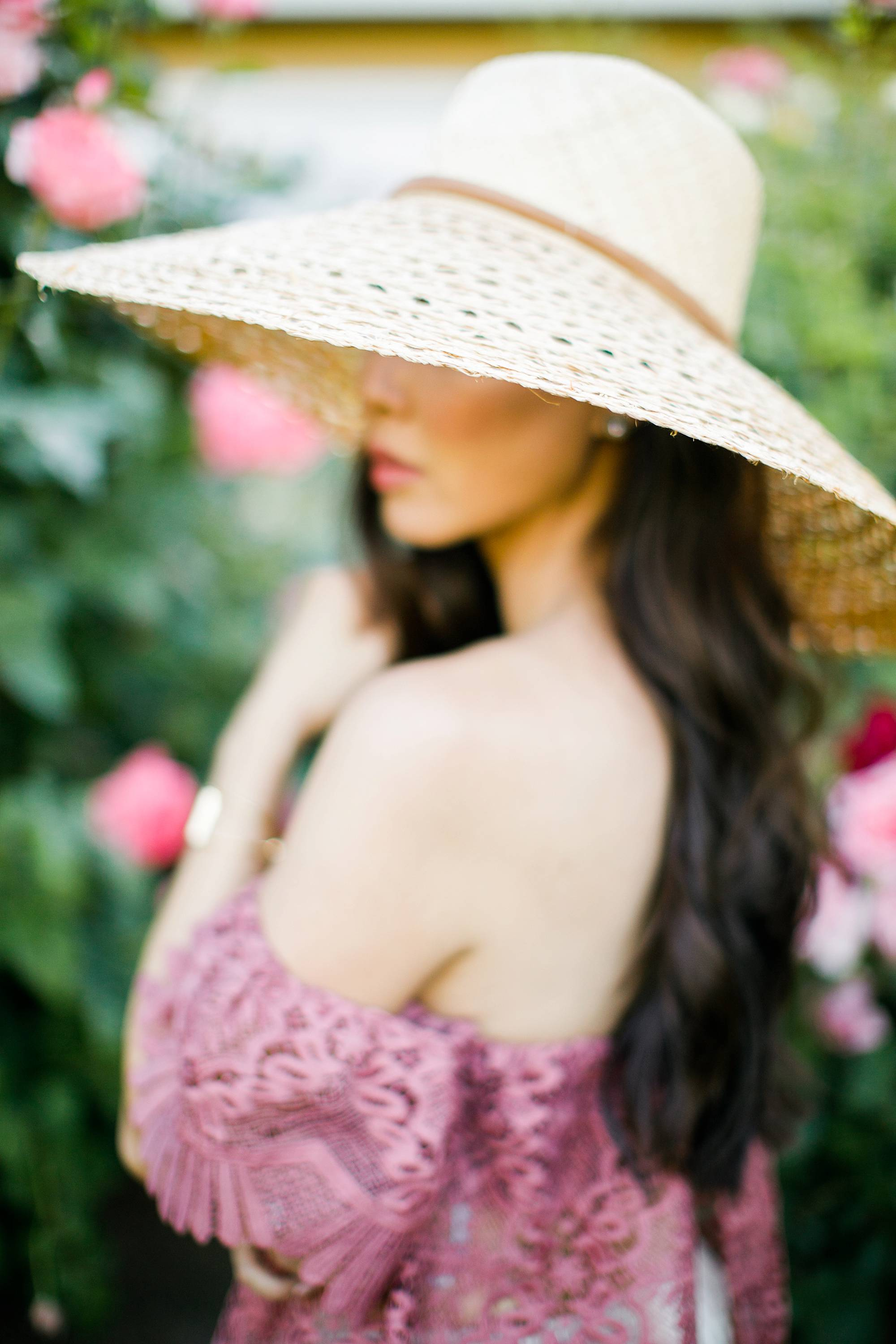 soft focus lace off shoulder Parisian vibes large sunhat film portrait lifestyle blogger Diana Elizabeth by Jennifer Bowen Photography in roses phoenix