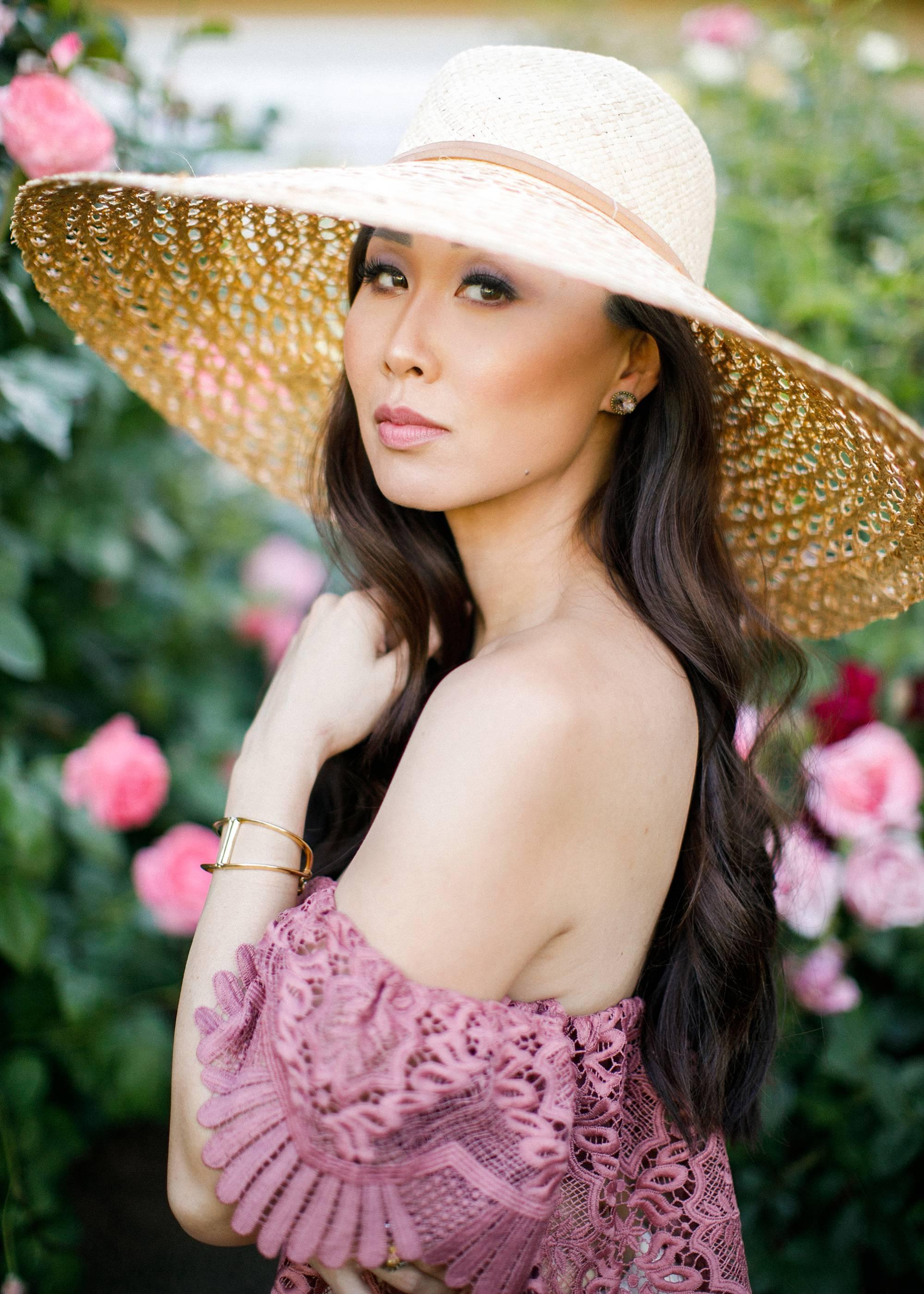 lace off shoulder Parisian vibes large sunhat film portrait lifestyle blogger Diana Elizabeth by Jennifer Bowen Photography in roses phoenix