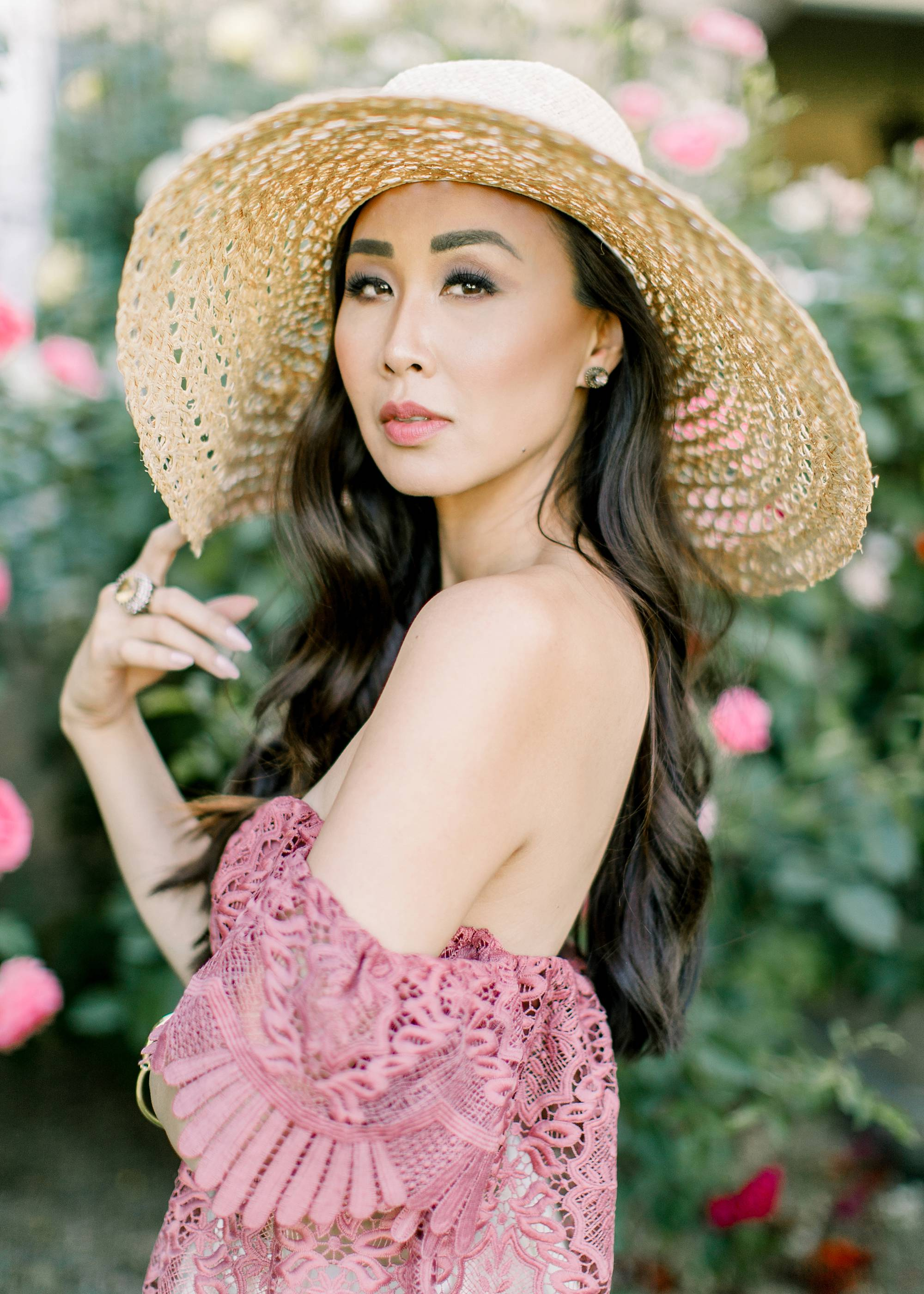 lace off shoulder Parisian vibes large sunhat film portrait lifestyle blogger Diana Elizabeth by Jennifer Bowen Photography in roses phoenix