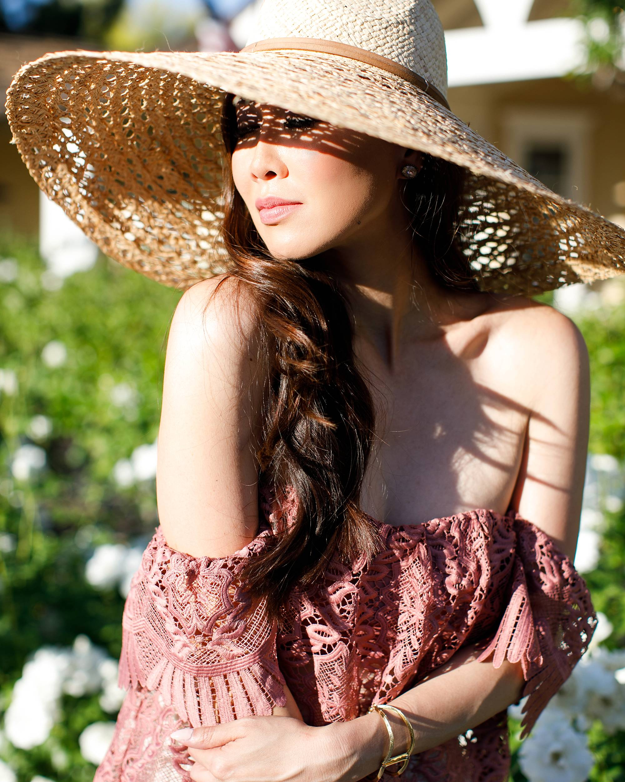 shadows lace off shoulder Parisian vibes large sunhat film portrait lifestyle blogger Diana Elizabeth by Jennifer Bowen Photography in roses phoenix