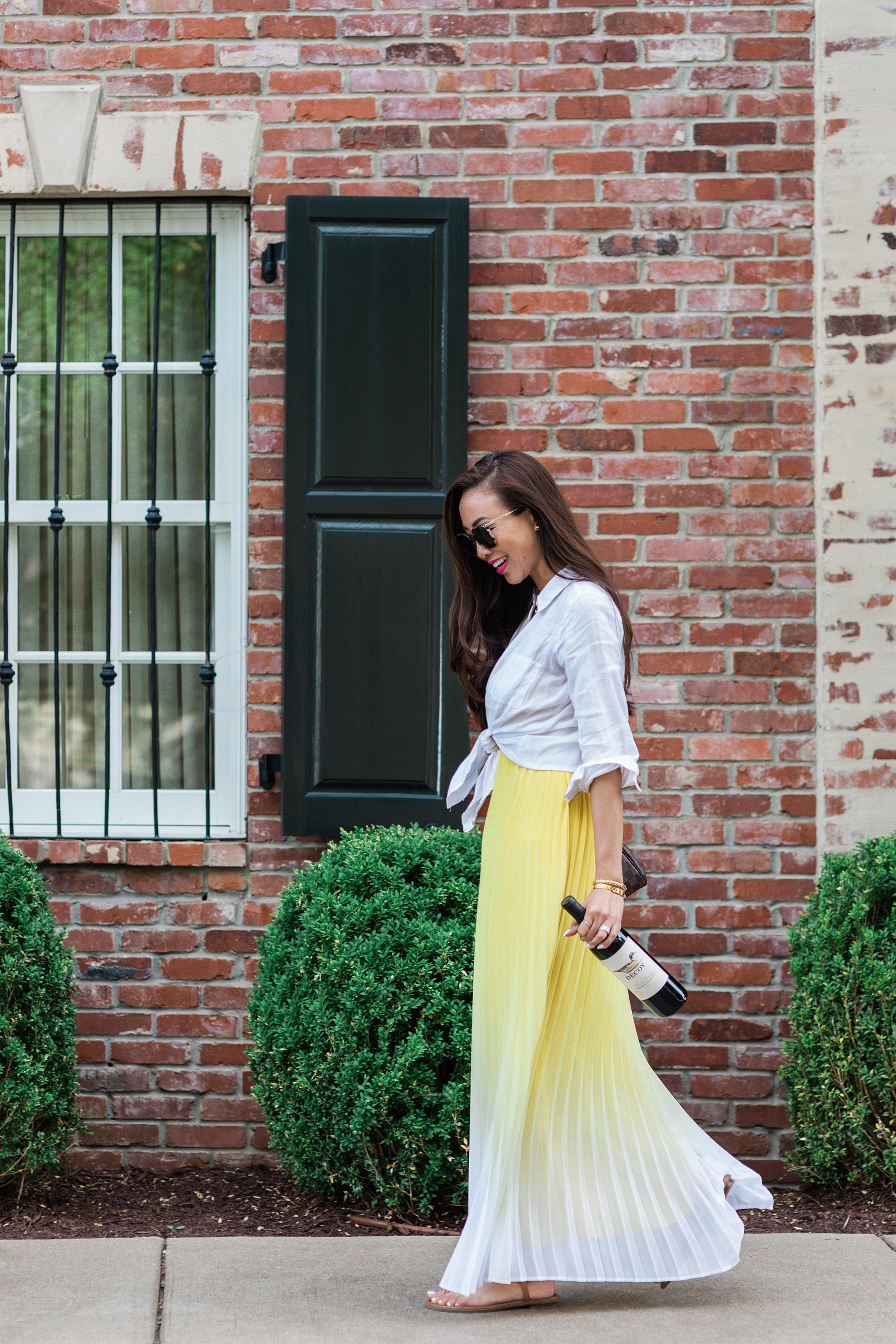 walking with wine streets of Nashville yellow maxi dress
