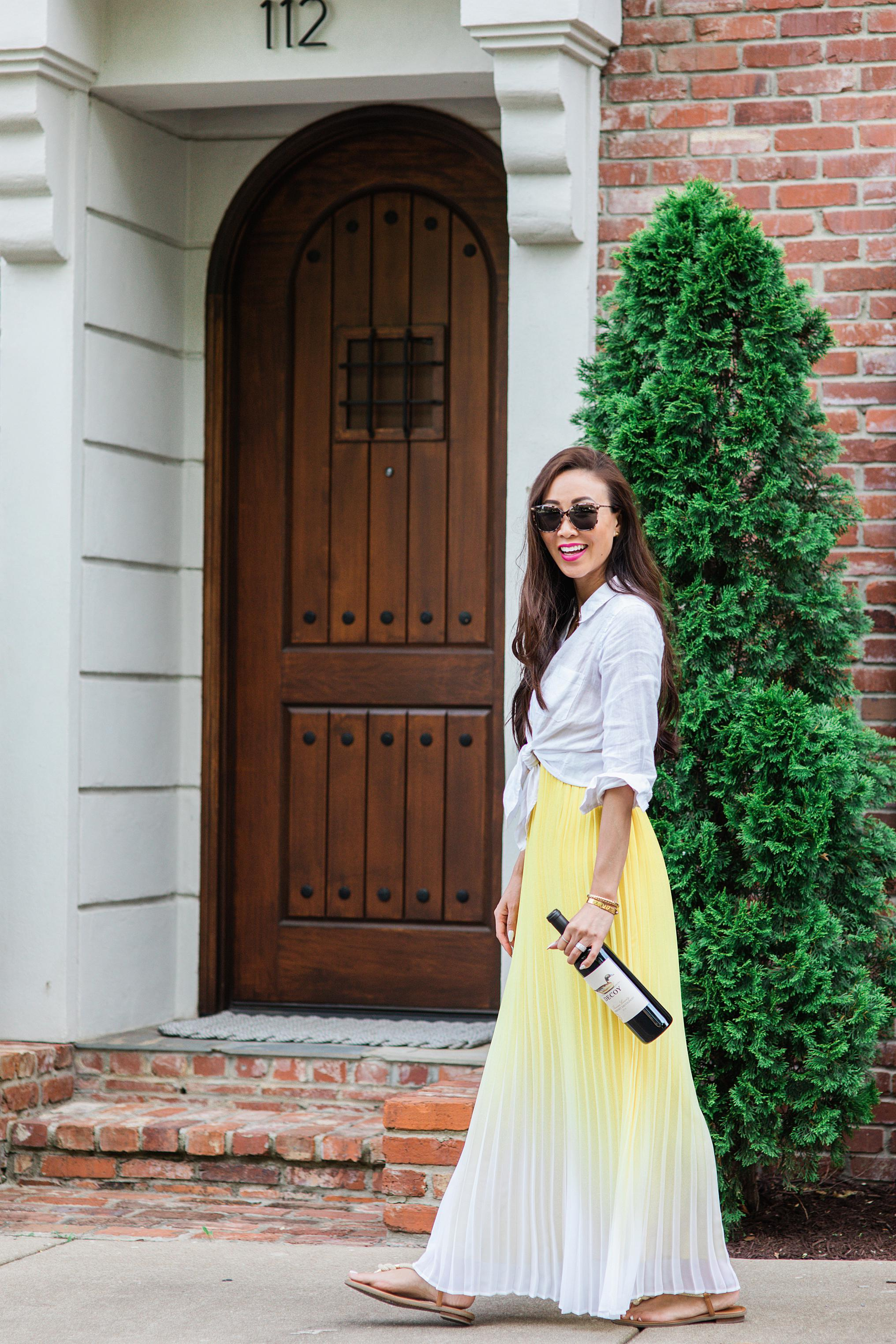 decoy wine Nashville homes yellow pleated maxi dress