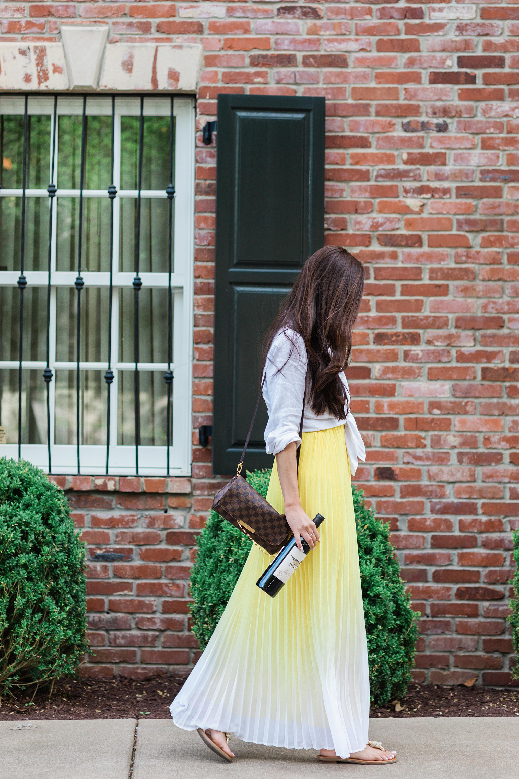 yellow pleated maxi dress with wine in Nashville