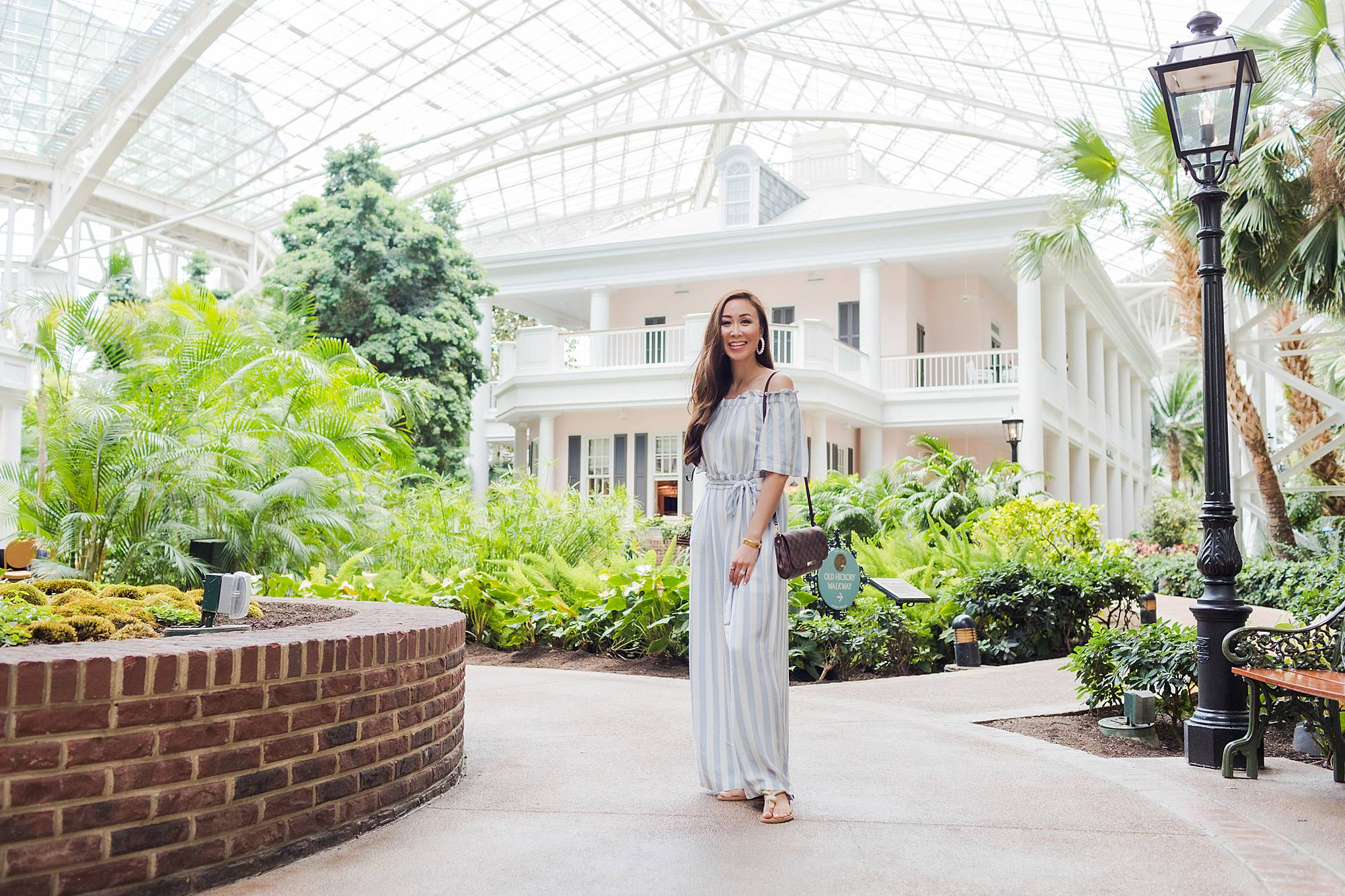 gaylord Opryland hotel in Nashville, Parisian style jumpsuit from bcbgmaxazria Macys Summer off shoulder jumpsuit