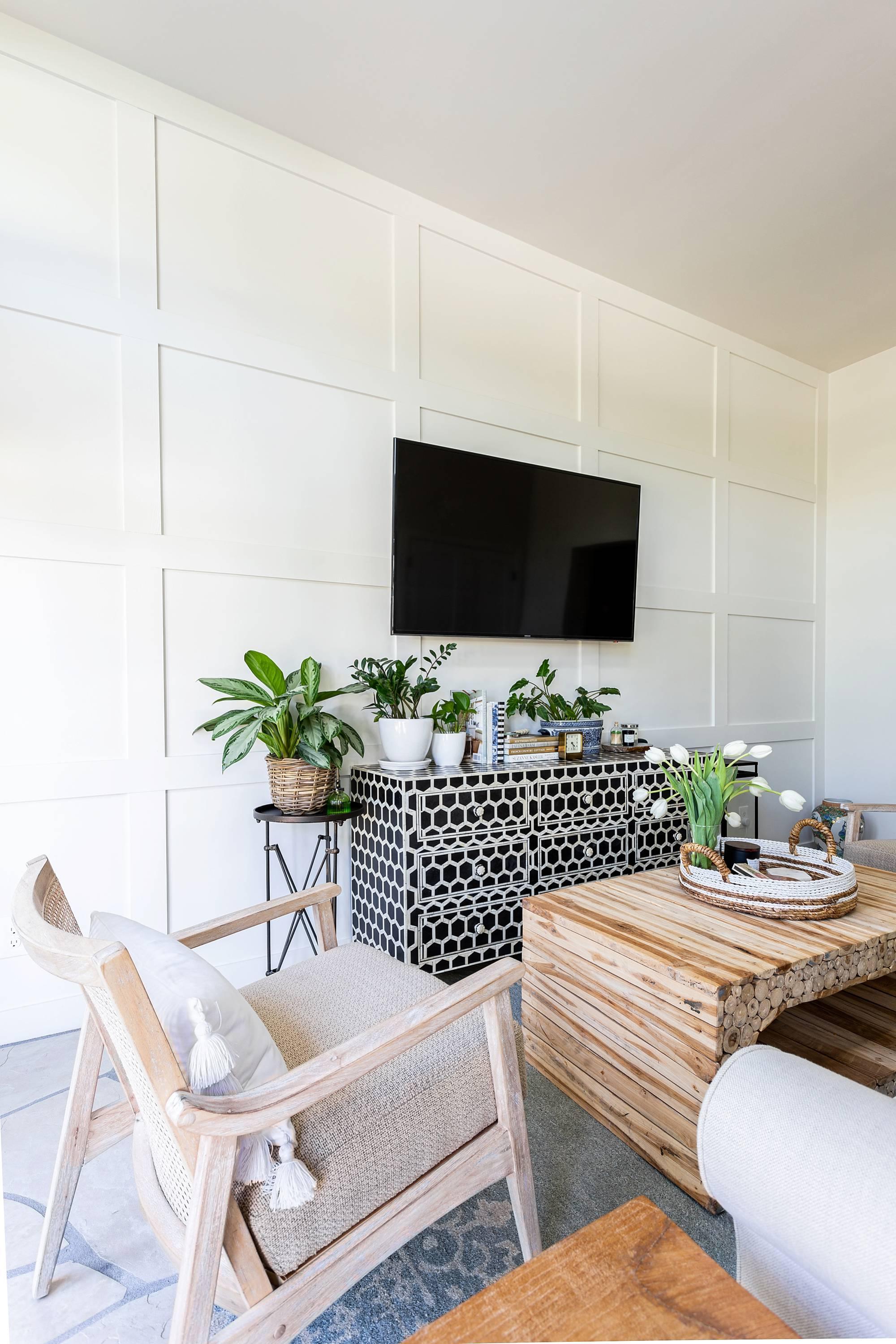 black and white honeycomb bone dresser, wood square panel wall