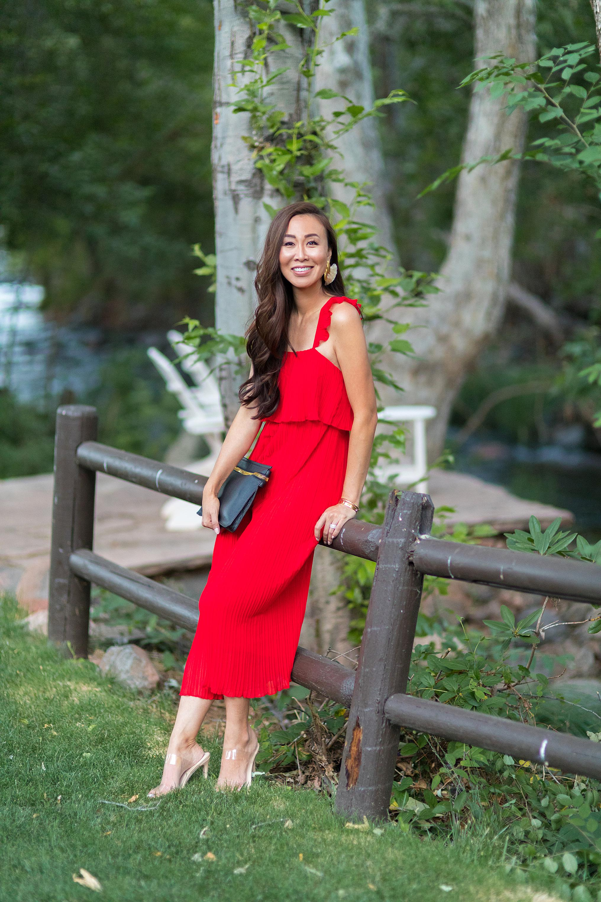red pleated jumpsuit l'auberge de sedona