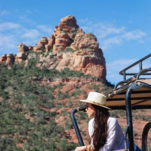 views in jeep sedona arizona safari Jeep Tour Diana Elizabeth hanging out window