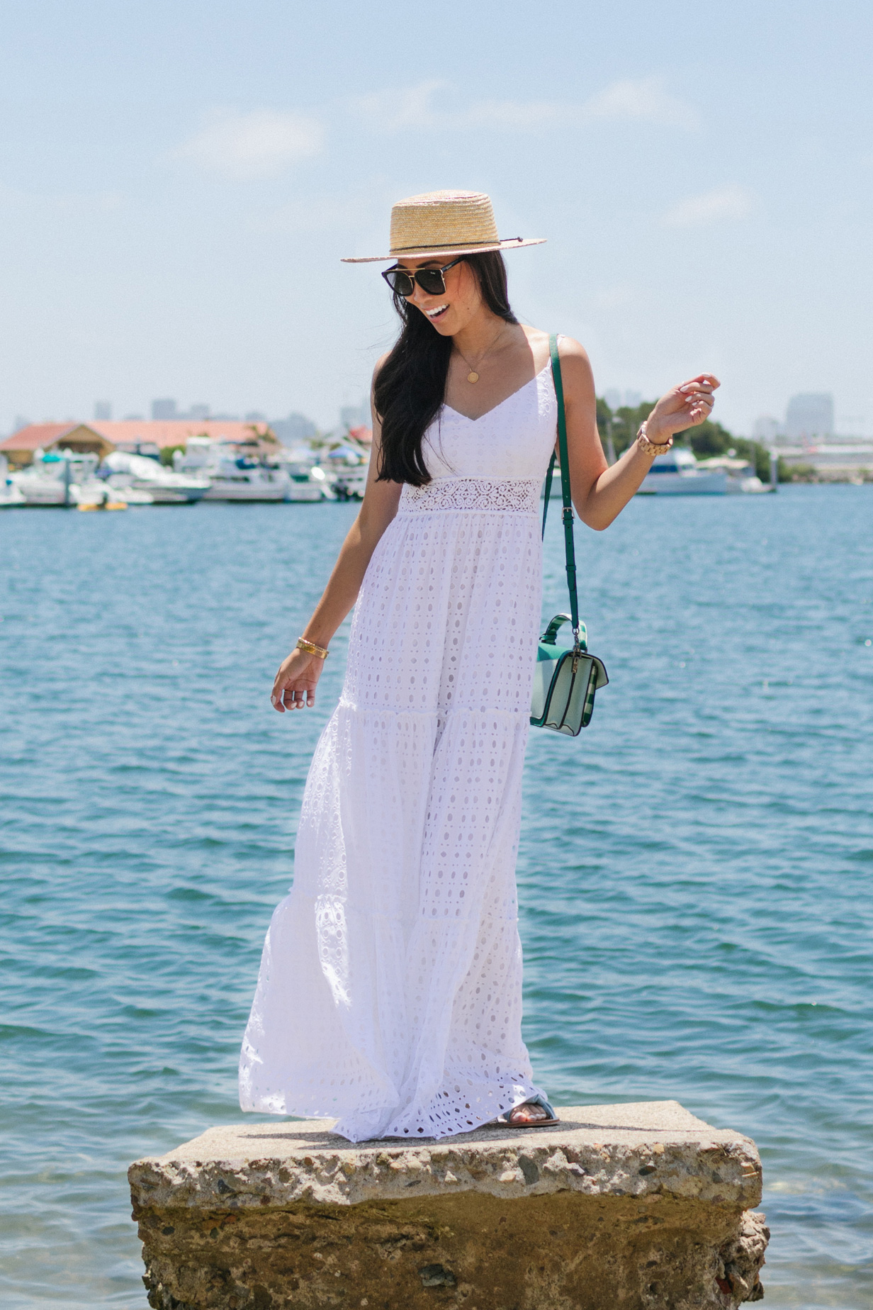 summer white maxi dress eyelet by Lilly Pulitzer worn by Diana Elizabeth