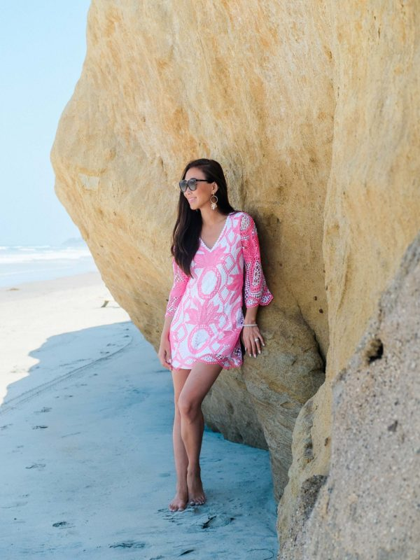 Lilly Pulitzer Lottie Romper on lifestyle blogger Diana Elizabeth on Solano Beach San Diego CA