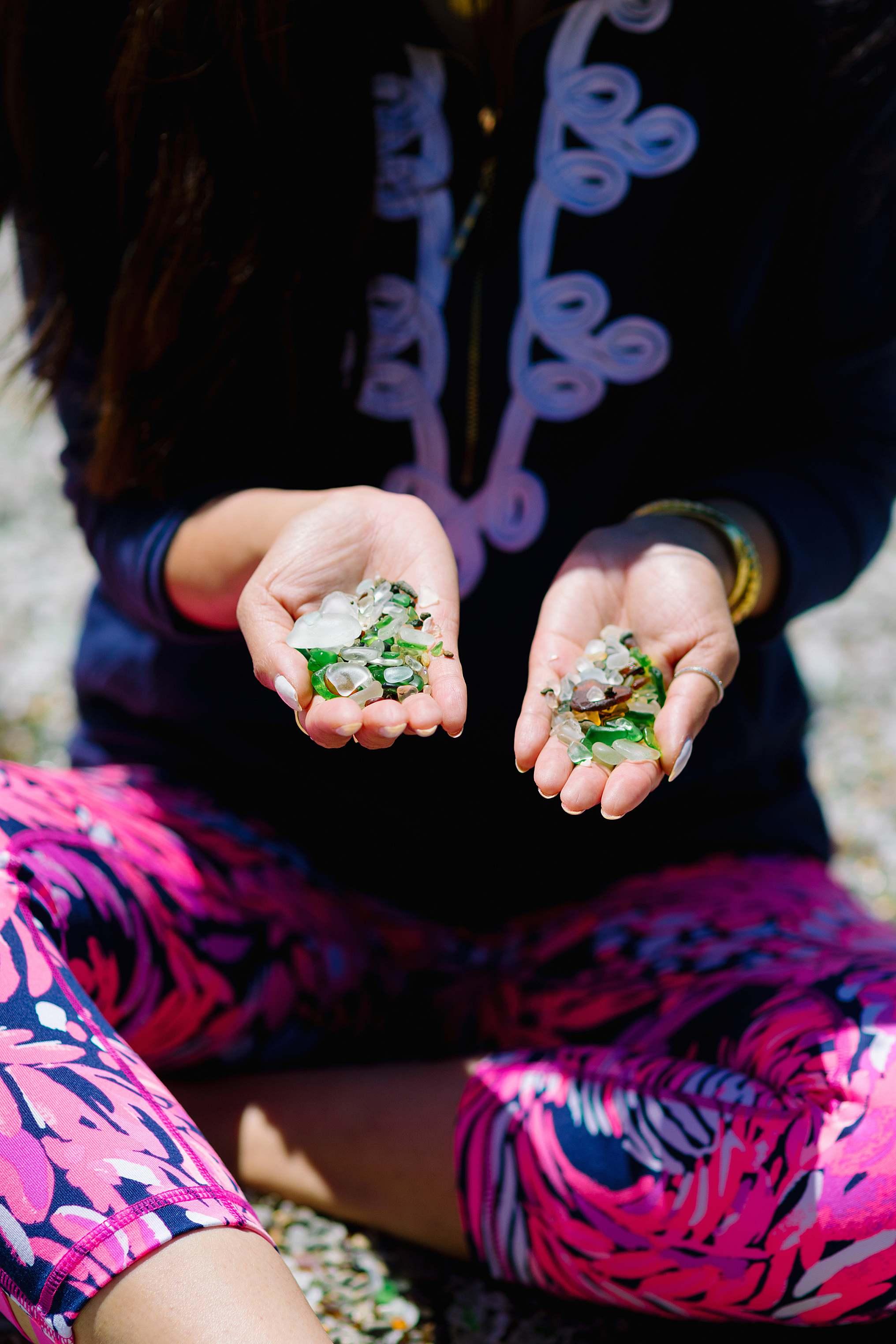 holding glass from glass beach Fort Bragg California