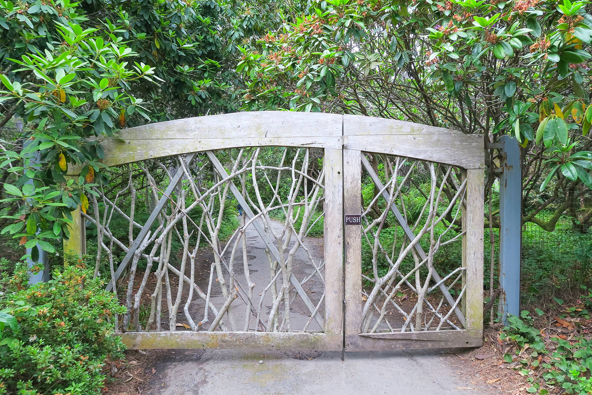 branch gate at Mendocino County Botanical Gardens