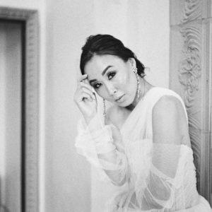 black and white bridal portrait - tulle dress - vera wang bridal gown dress Ashley castle phoenix arizona photography by Brandy Jackson model: Diana Elizabeth www.dianaelizabethblog.com