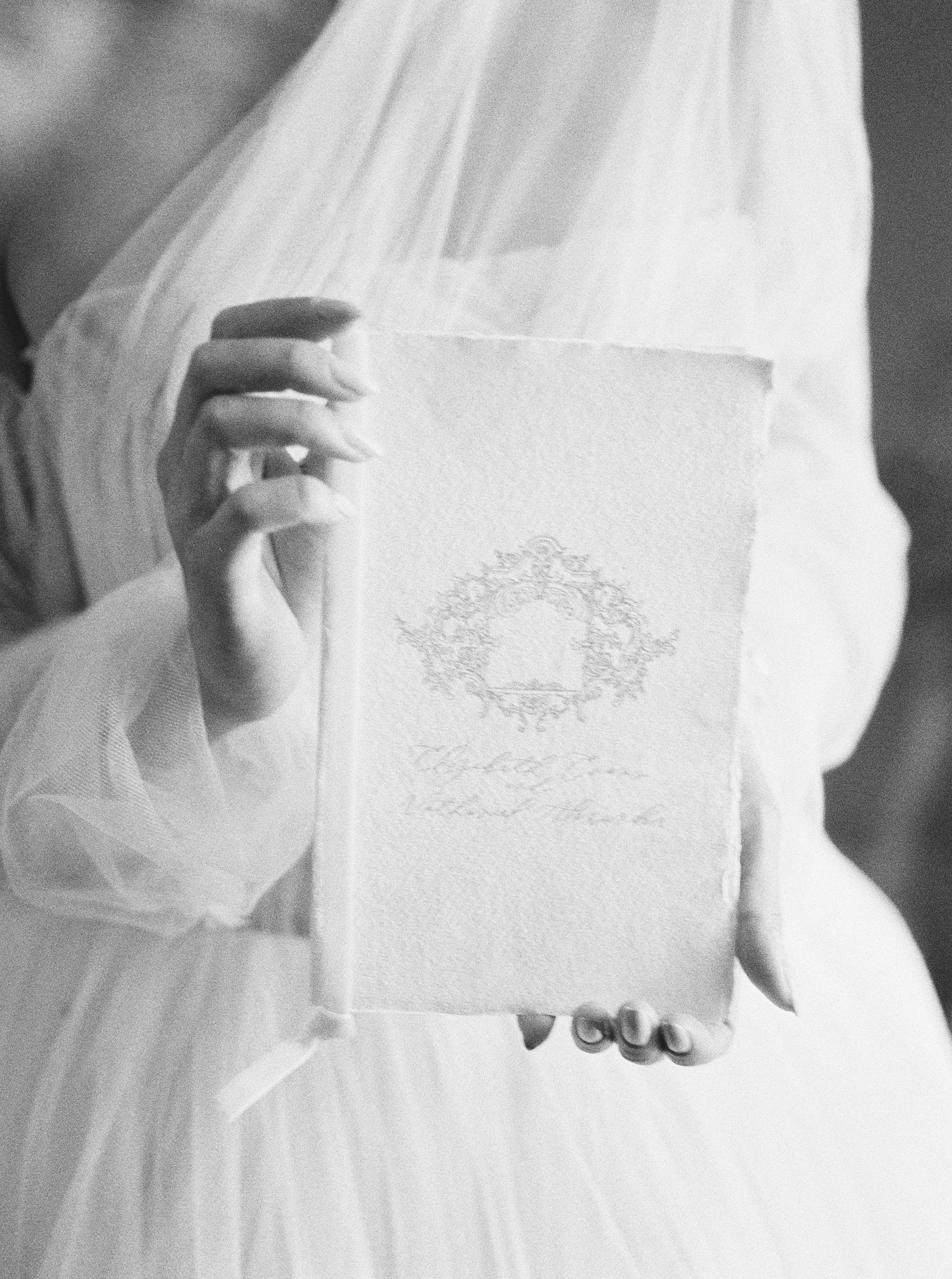 wedding invitation wearing Vera Wang gown at Ashely castle arizona