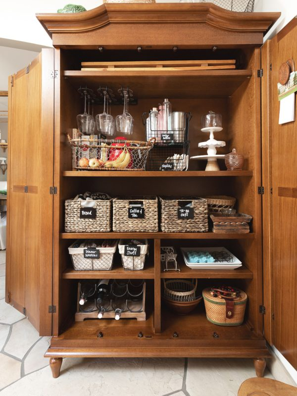 kitchen armoire organization kitchen pantry blared designs Casa Florentina Josephina Bonnet Top Armoire