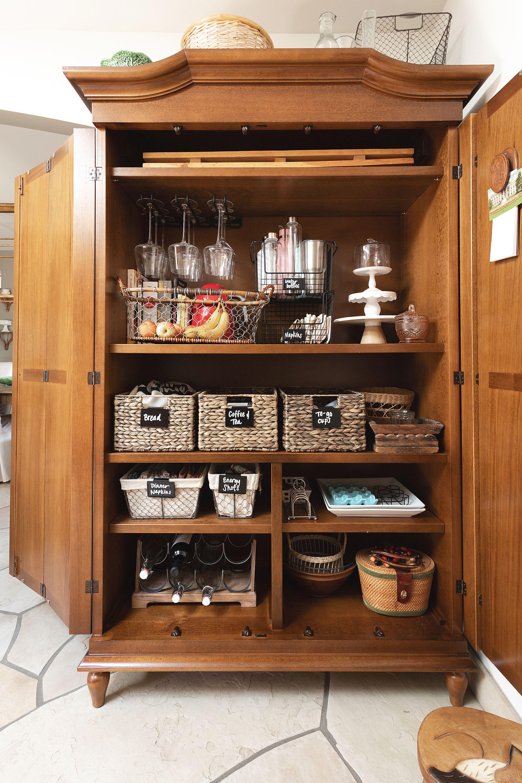 kitchen armoire organization kitchen pantry blared designs Casa Florentina Josephina Bonnet Top Armoire