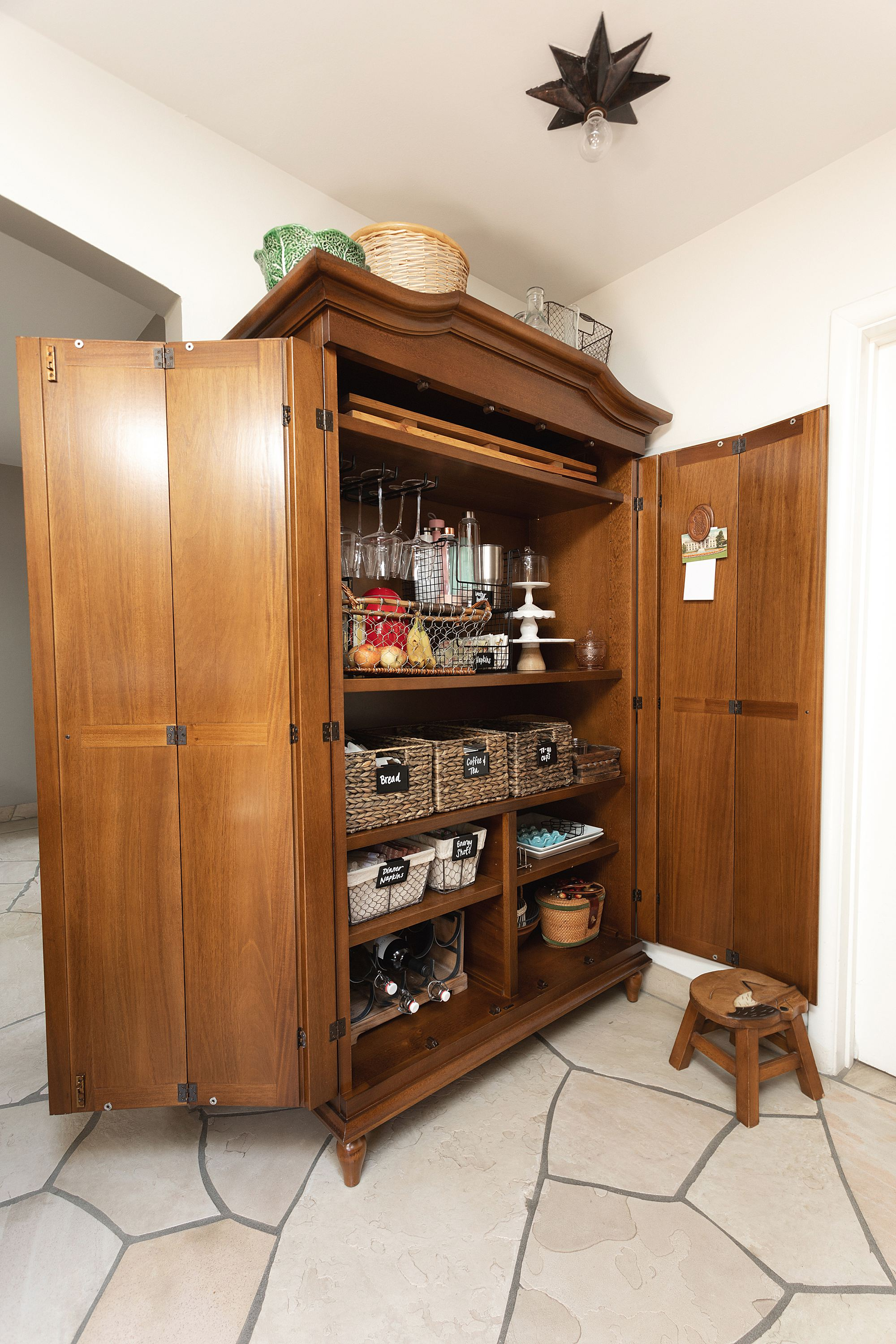 kitchen armoire pantry from Ballard Designs brown furniture wood Casa Florentina Josephina Bonnet Top Armoire