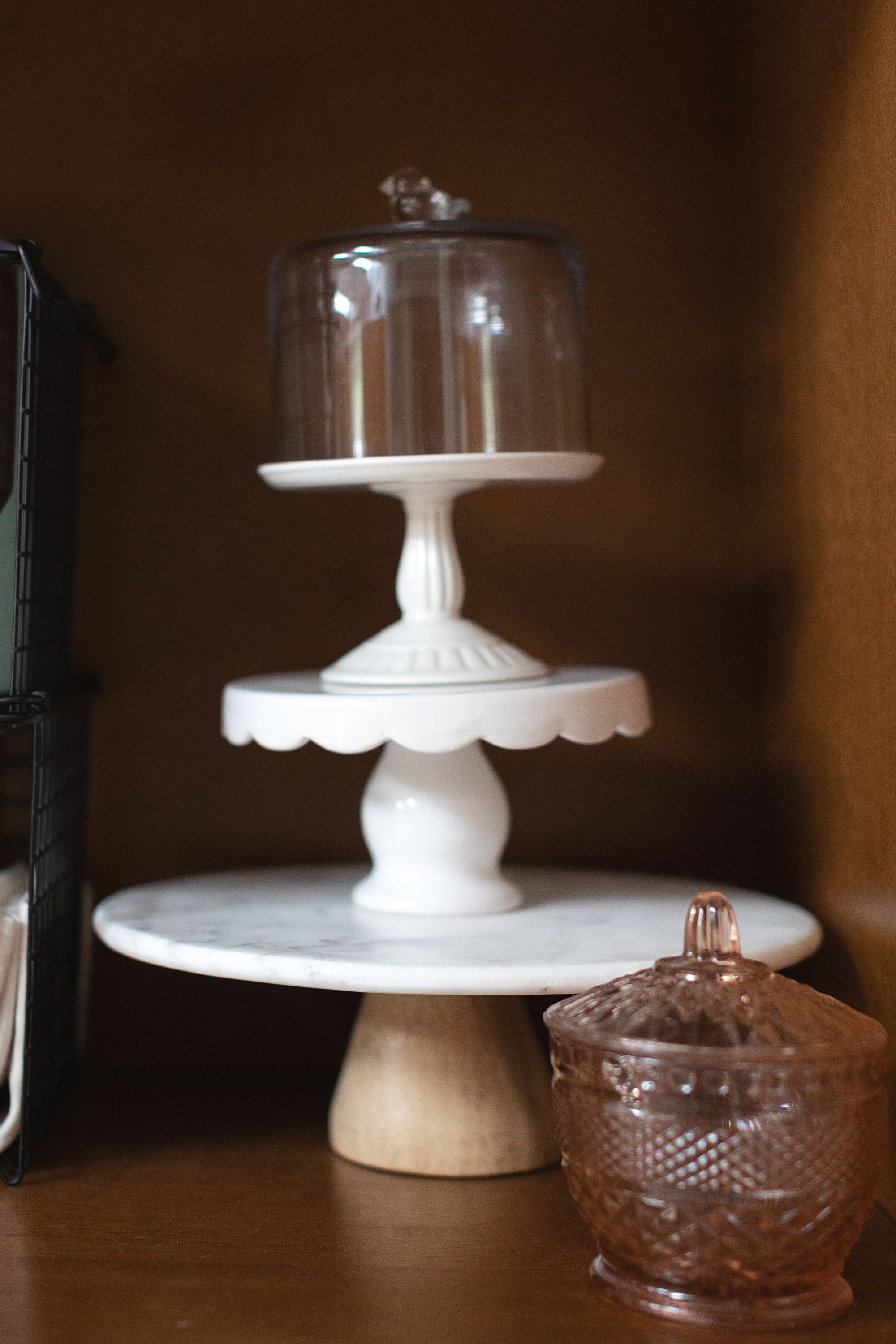 cake stands inside kitchen pantry armoire