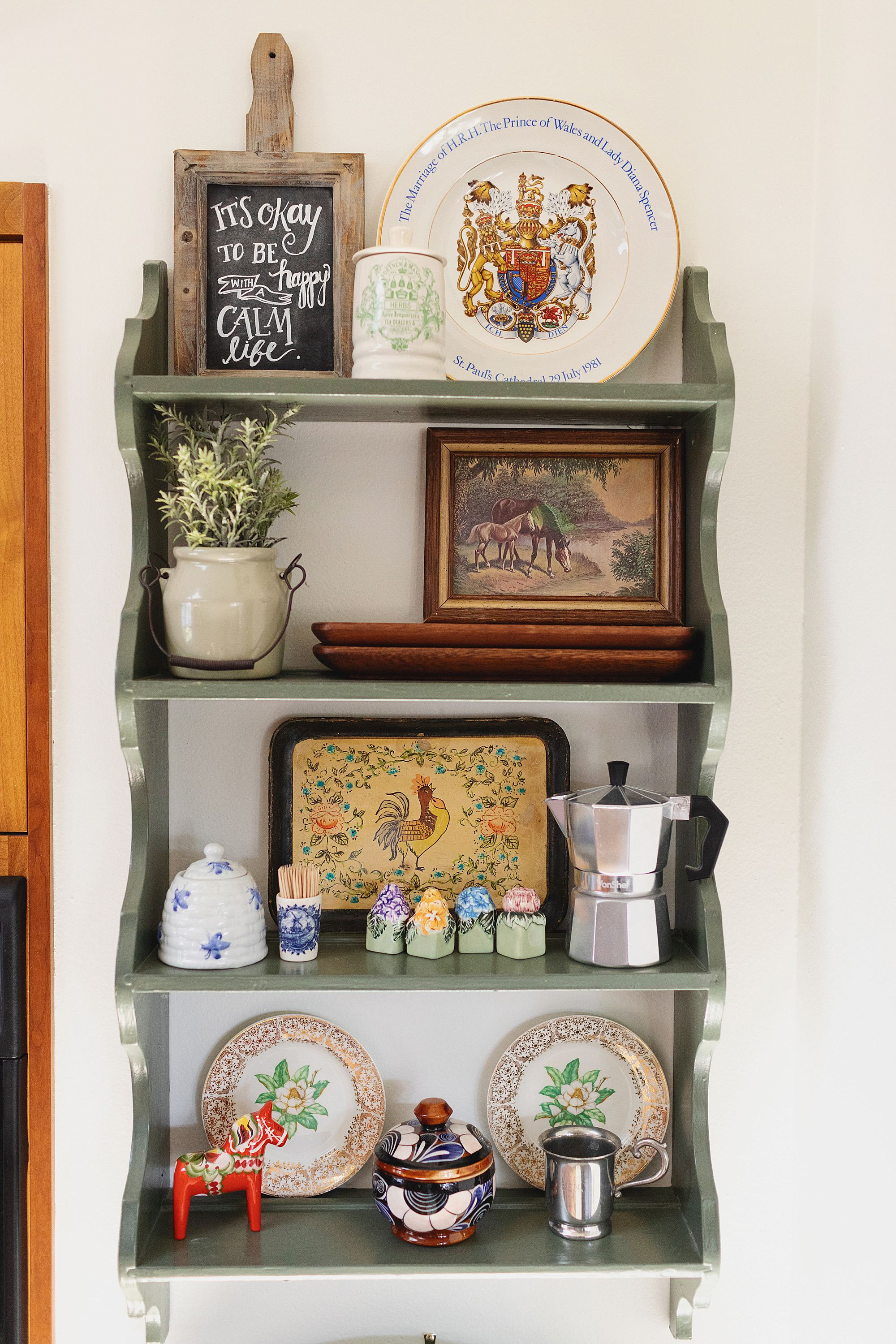 kitchen shelf travel souvenirs