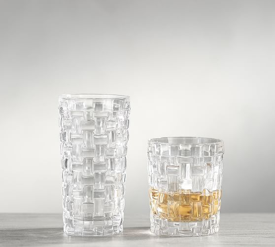 crystal basketweave glassware