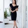 Badgley Mischka origami sleeve black dress on lifestyle blogger Diana Elizabeth