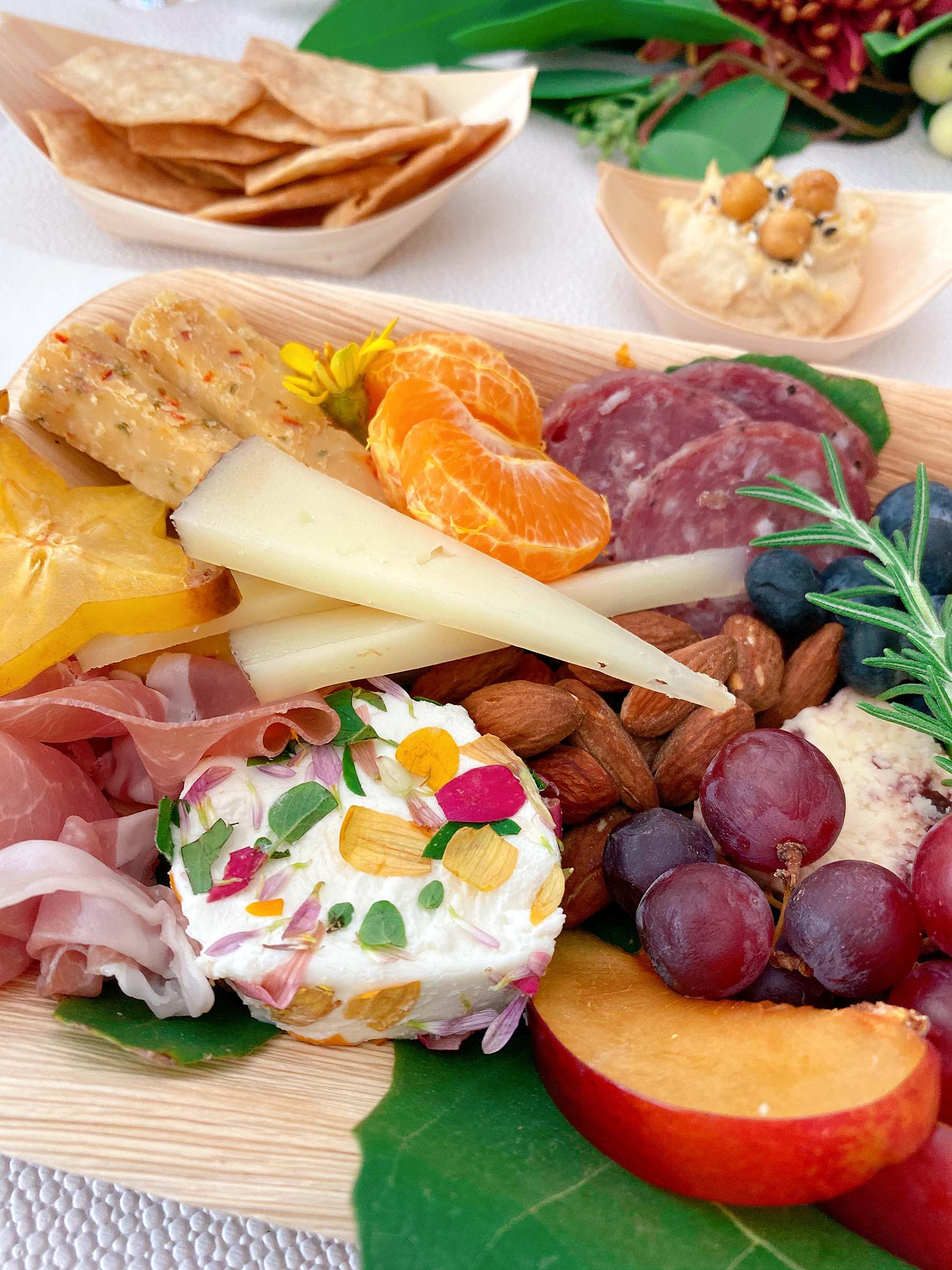 cheese boards with floral in the cheese! by harmony boards