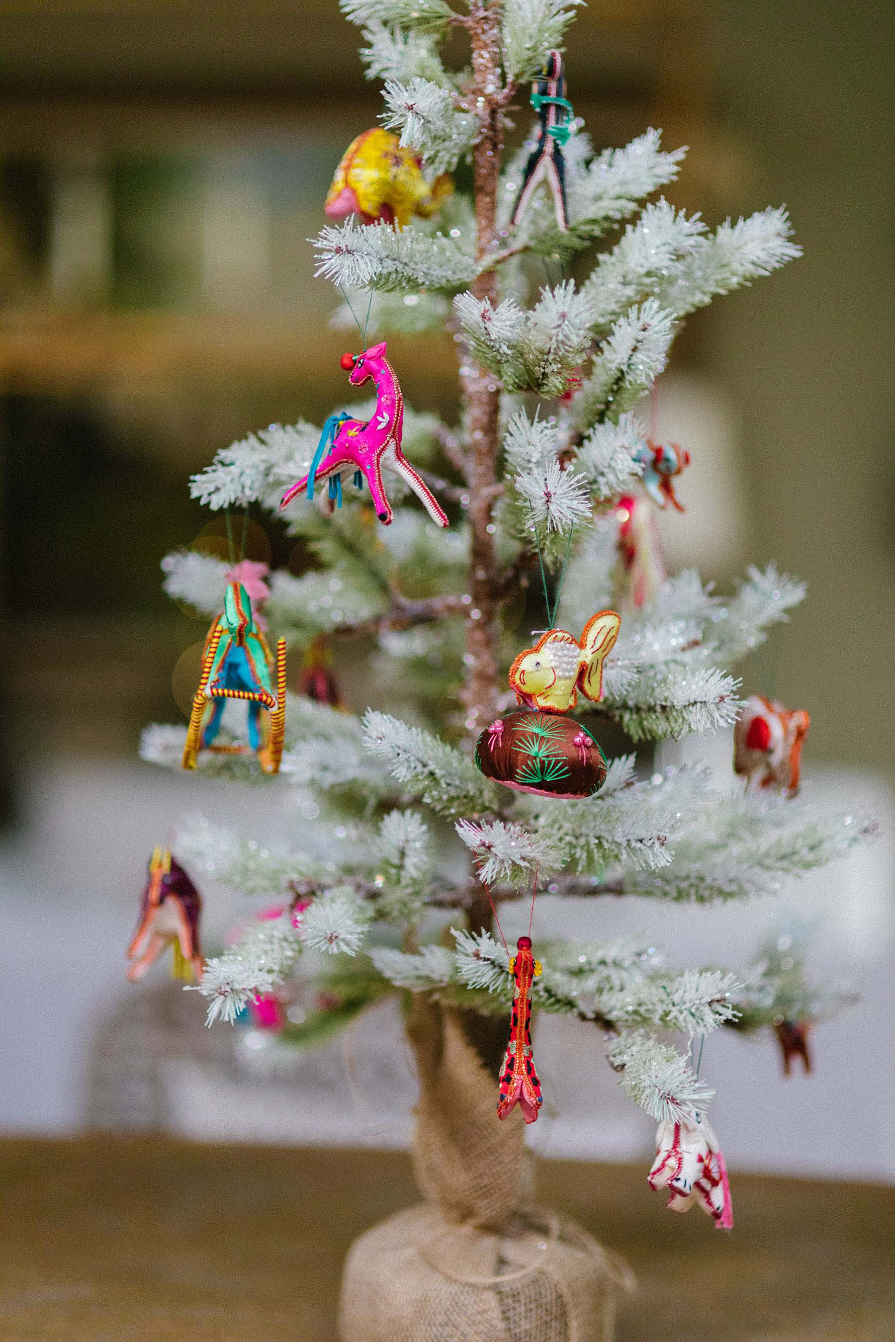 tabletop tree from Anthropologie featuring Chinese ornaments