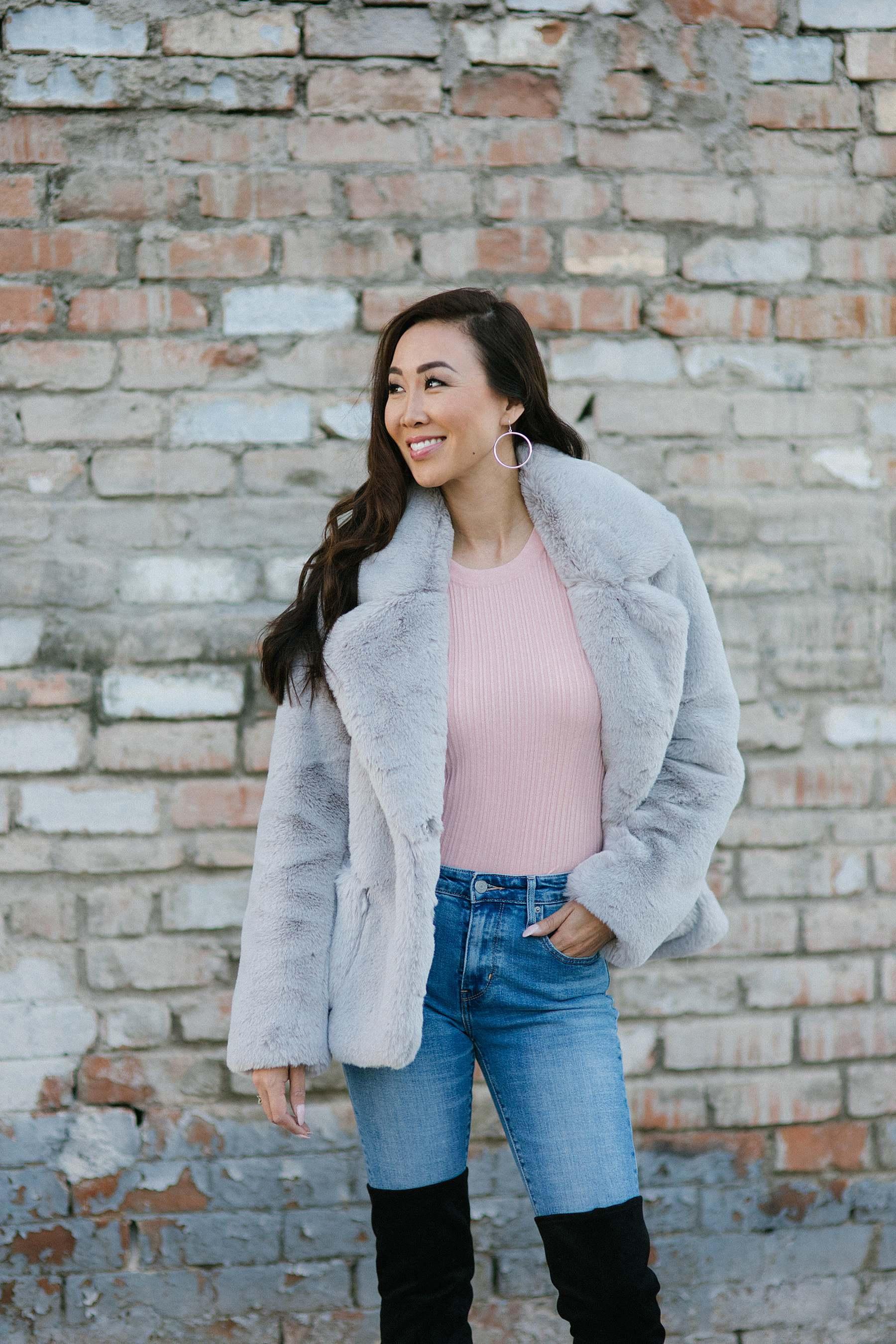 Ellen Tracy light gray faux fur coat with sterling silver hoop earrings faux fur outfit ideas