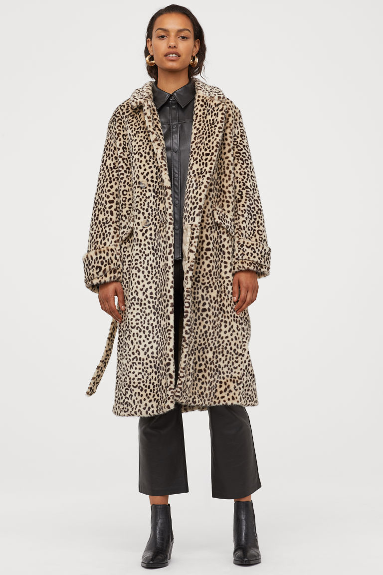 leopard print long heavy coat