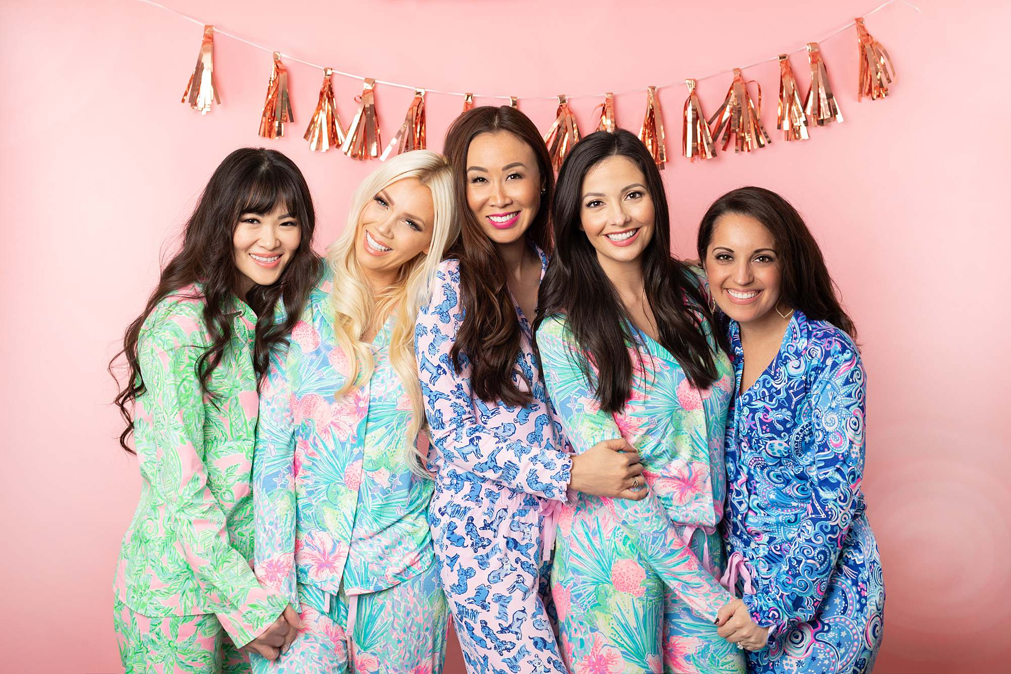 girl gang in front of pink backdrop wearing Lilly Pulitzer pajama for a christmas party - phoenix lifestyle blogger Diana Elizabeth, Christmas girl gang pajama party 2019