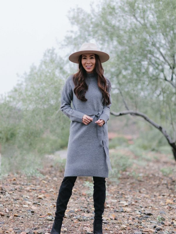 sweater dress mock neck turtleneck and wool hat fall look
