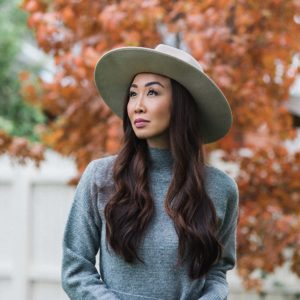 fashionable hats, capri hat wool hat, gray mock neck sweater dress
