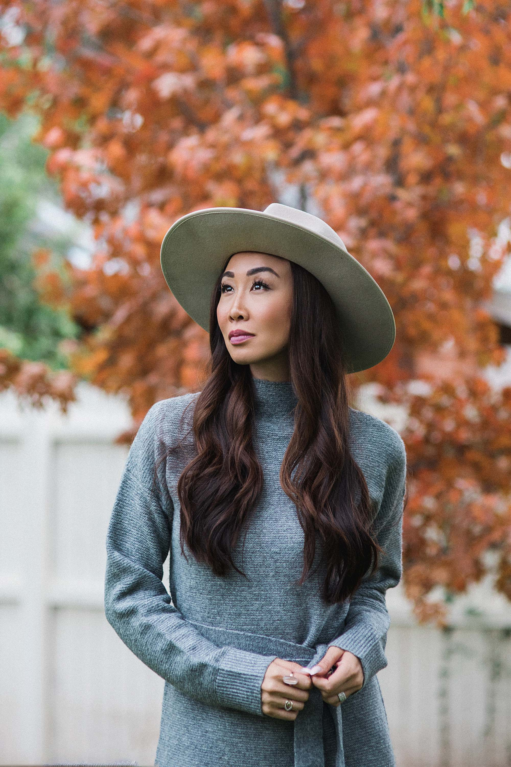 fashionable hats, capri hat wool hat, gray mock neck sweater dress
