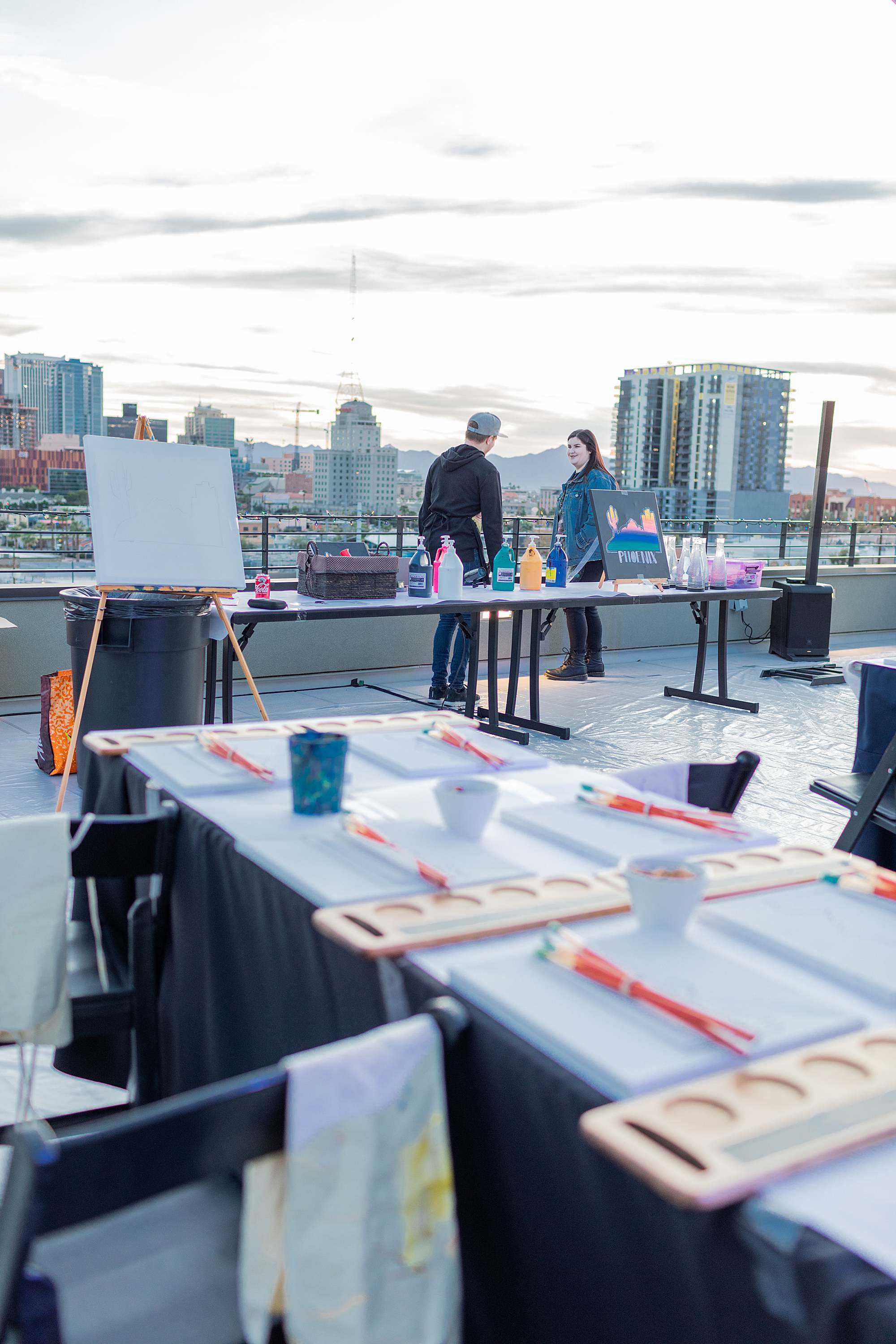 paint night set up paint night in downtown phoenix Cambria downtown hotel rooftop