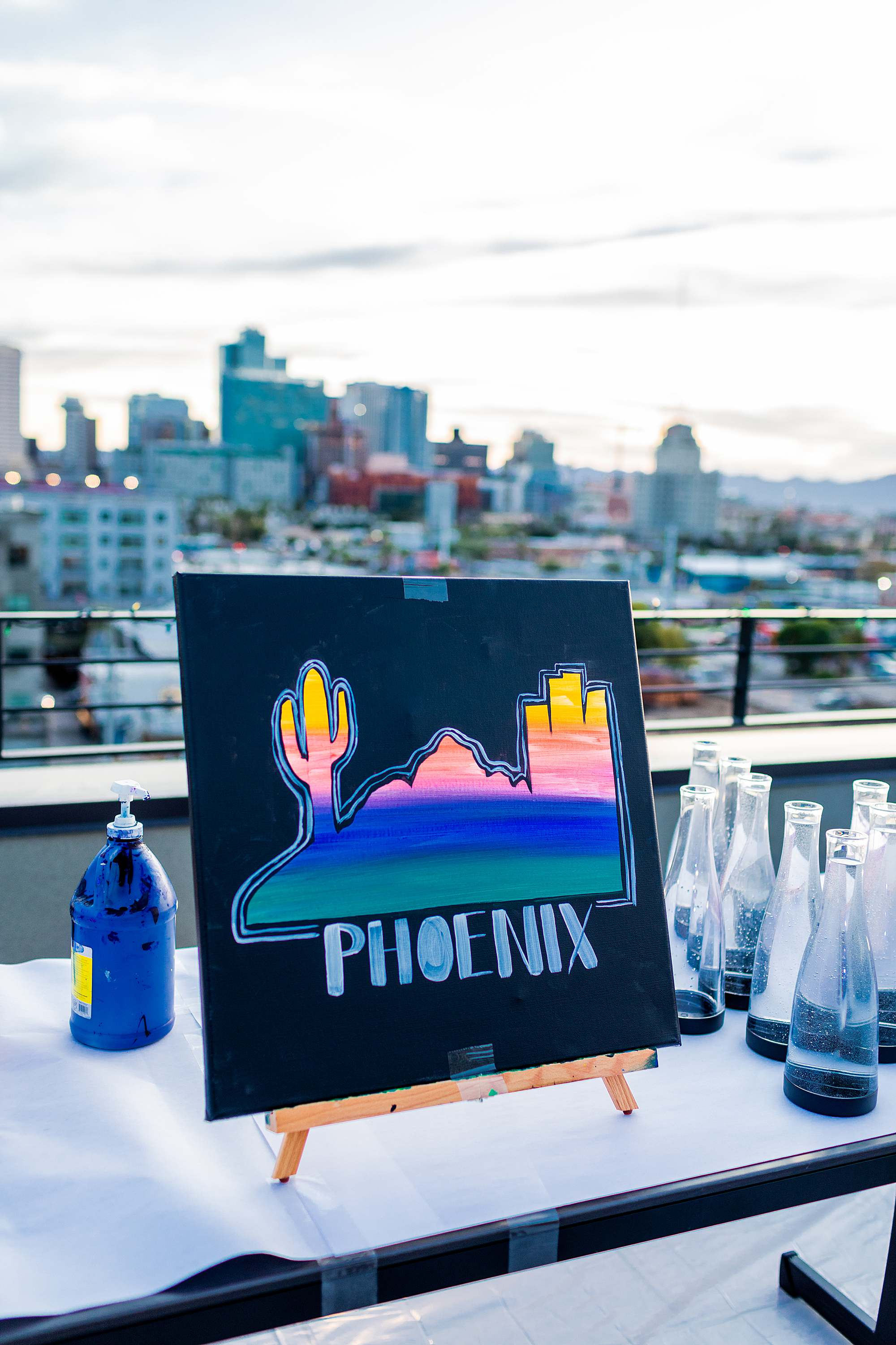 inspiration painting paint night in downtown phoenix Cambria downtown hotel rooftop