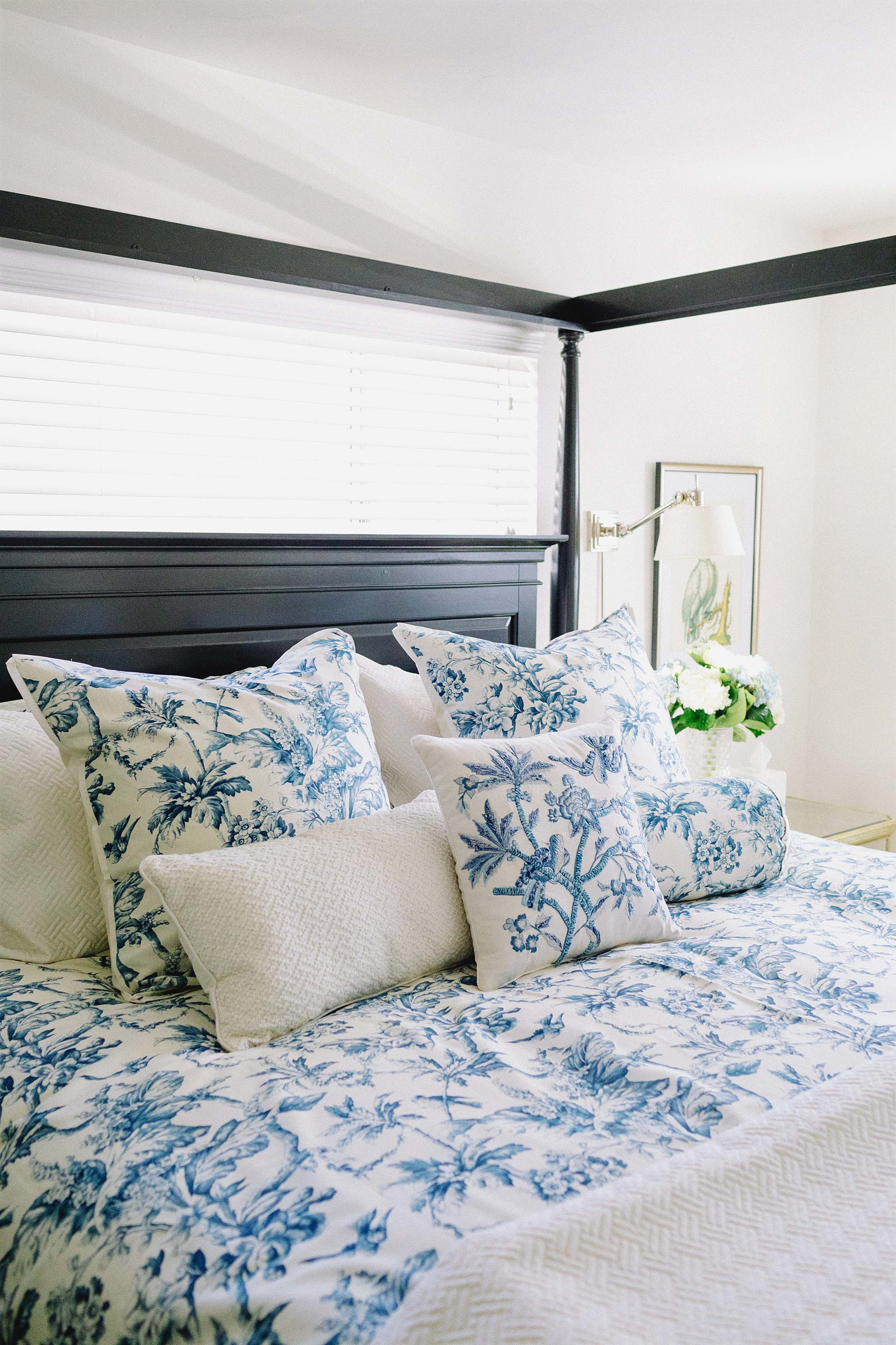 traditional bedroom ideas black canopy bed blue white botanical toile print bedding by Macy's - arizona home blogger traditional home Diana Elizabeth phoenix arizona home blog