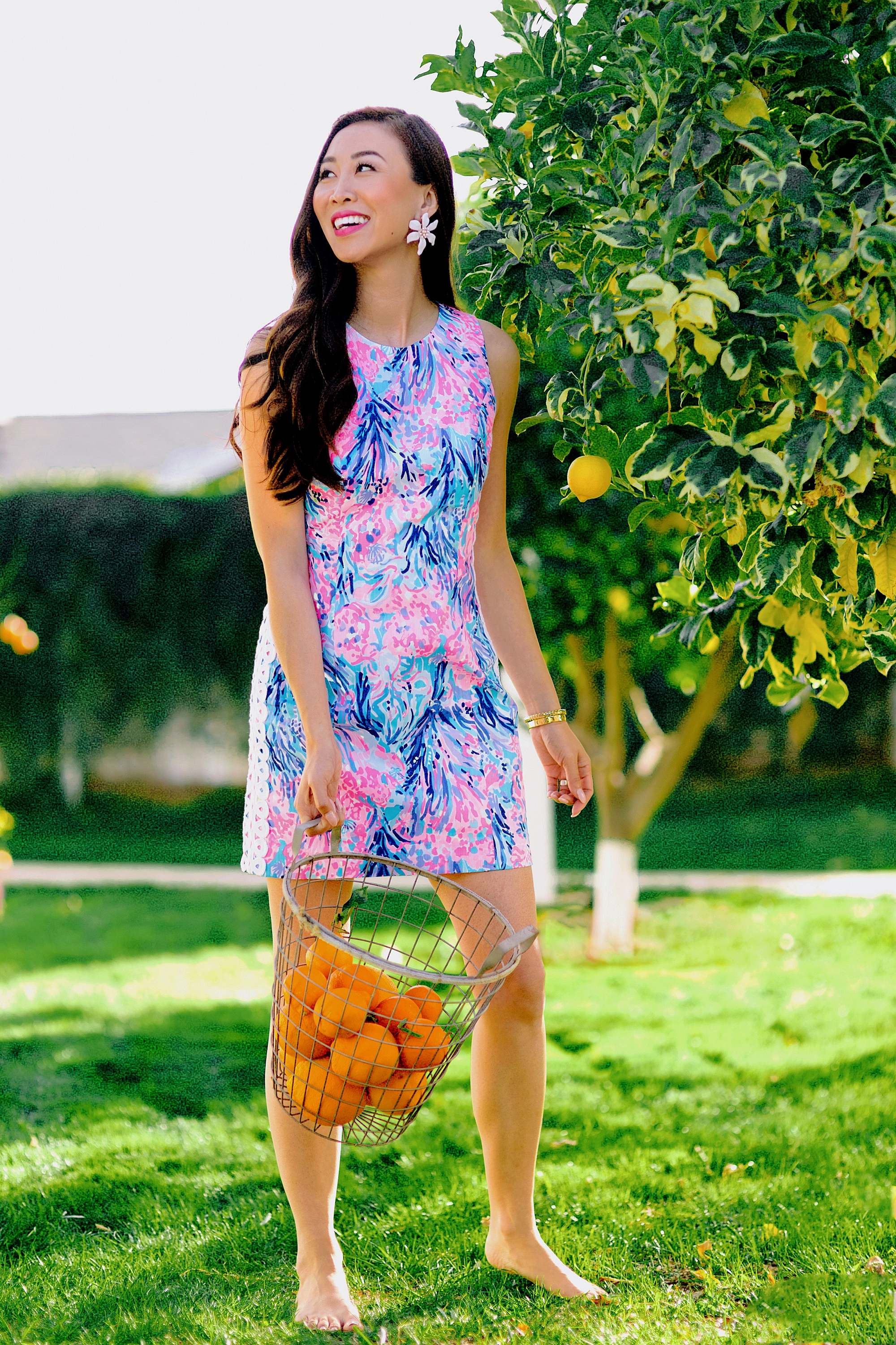 citrus season gathering oranges and lemon in a wire basket in phoenix. lifestyle blogger Diana Elizabeth in Lilly Pulitzer