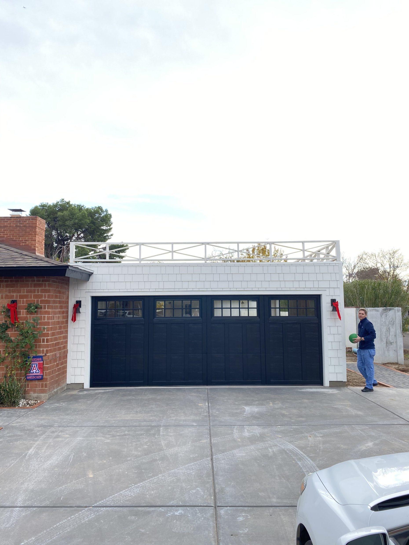flat roof door garage door black railing wood old home idea expansion